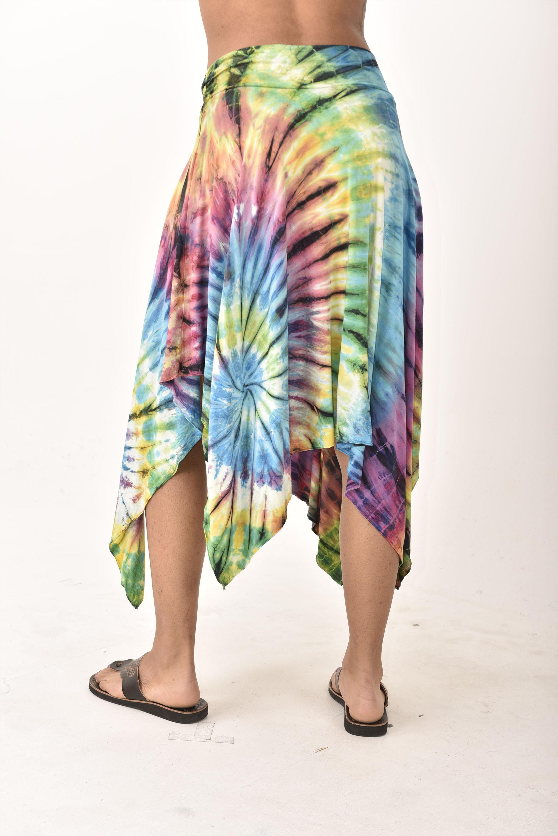 Hand Painted Tie Dye Fairy Skirt Rainbow