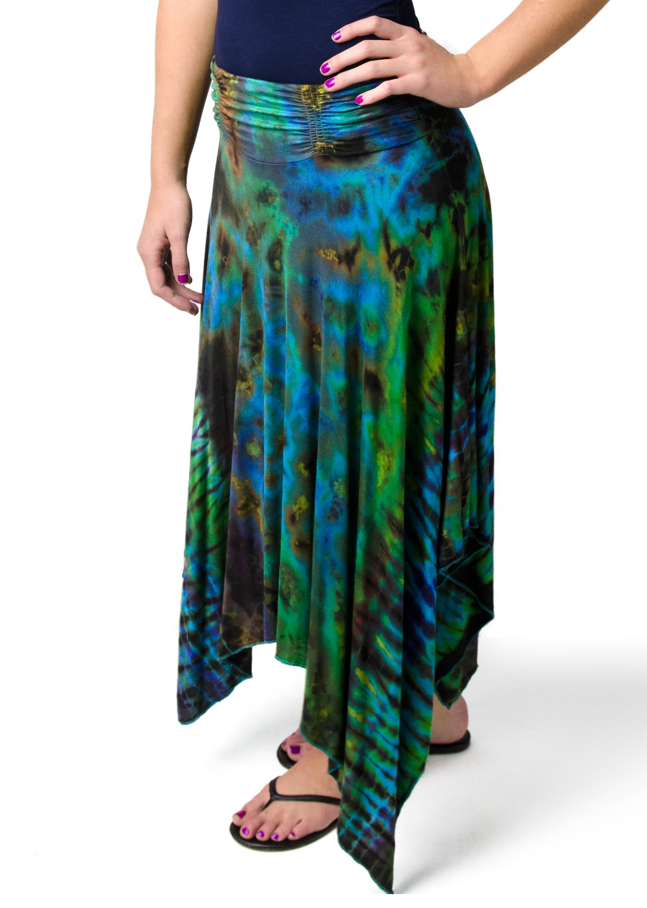Hand Painted Tie Dye,Fairy Skirt, Blue-Green Multi
