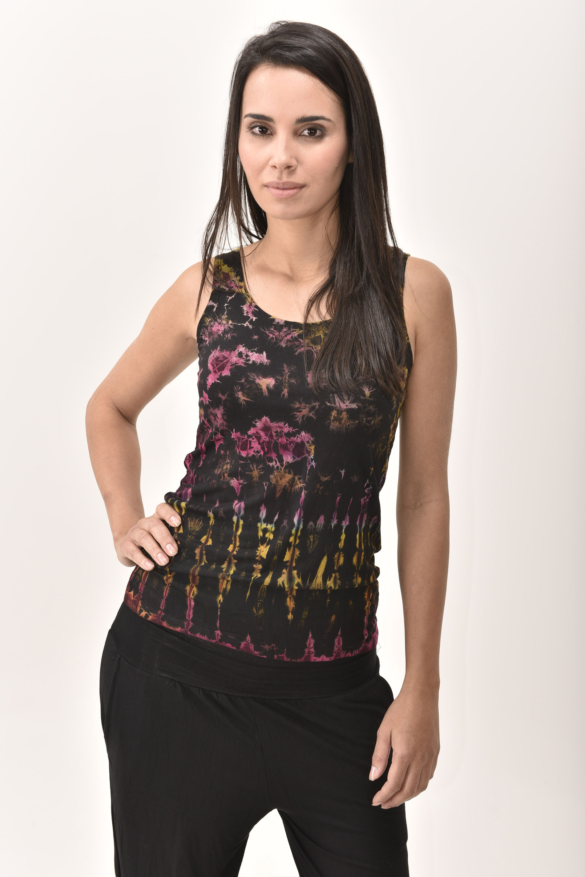 Tank Top Hand Painted Tie Dye, Black