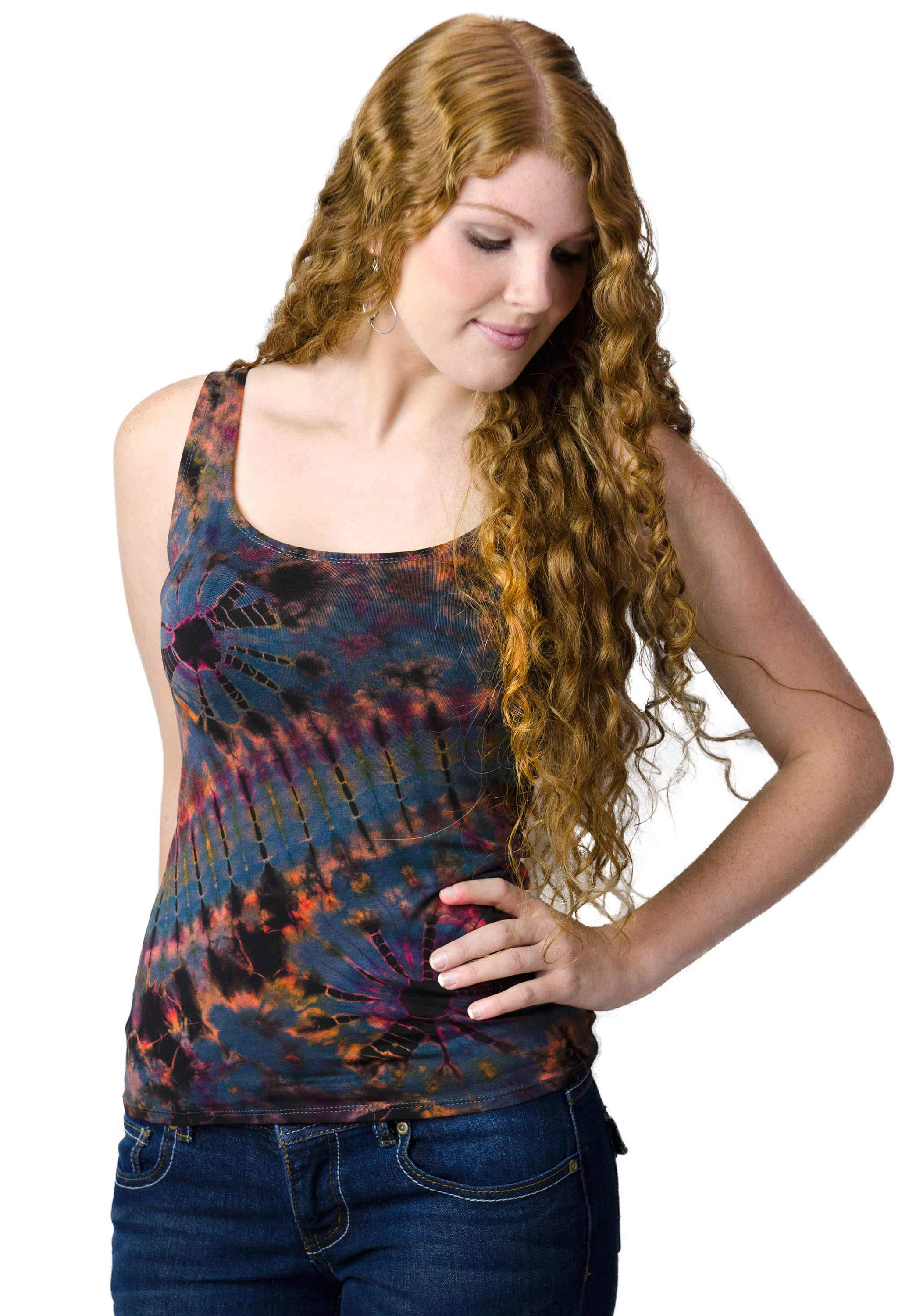 Tank Top Hand Painted Tie Dye, Rust Grey