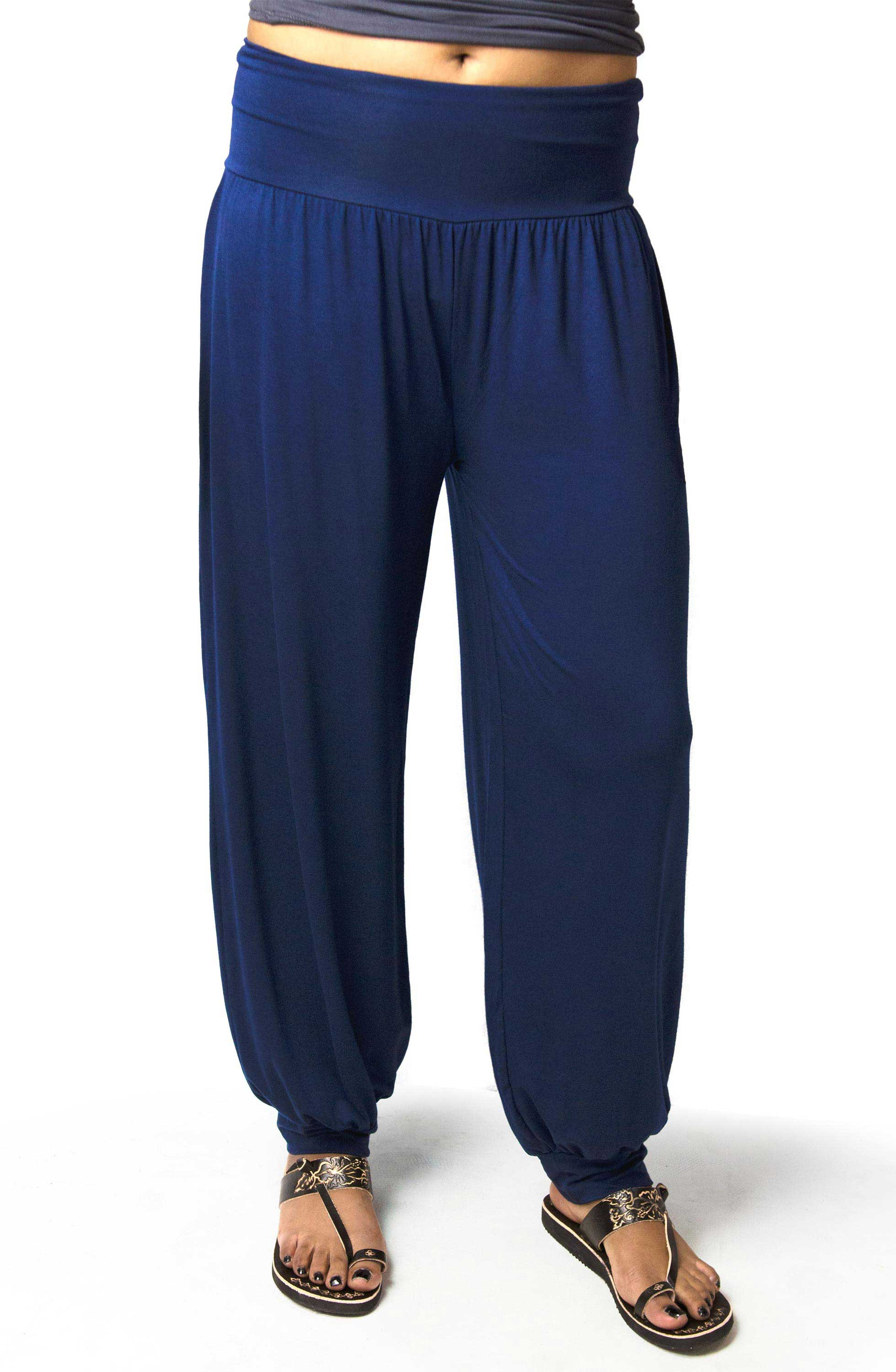 Harem Pants, Solid Color, Blue - 2365-B