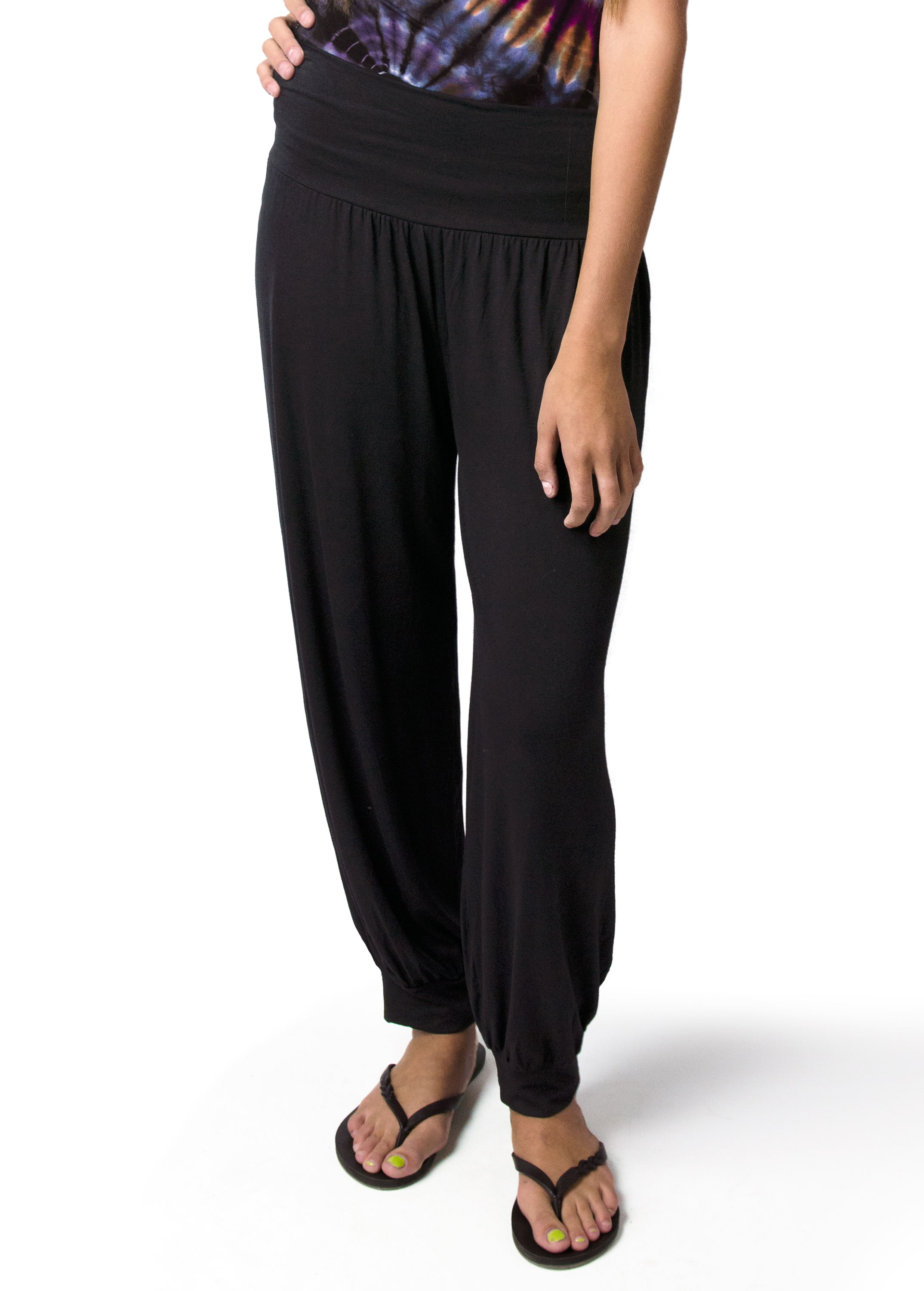 Harem Pants, Solid Color, Black  - 2365-K