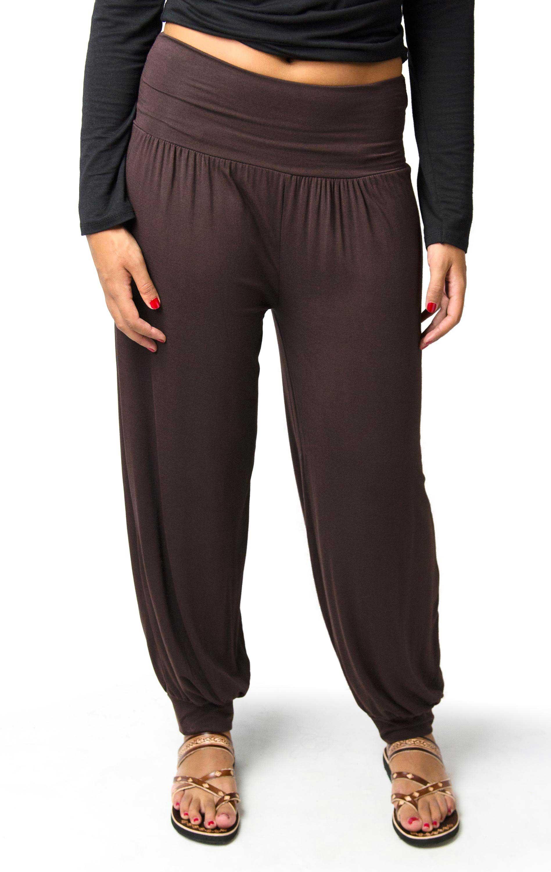 Harem Pants, Solid Color, Brown - 2365-N