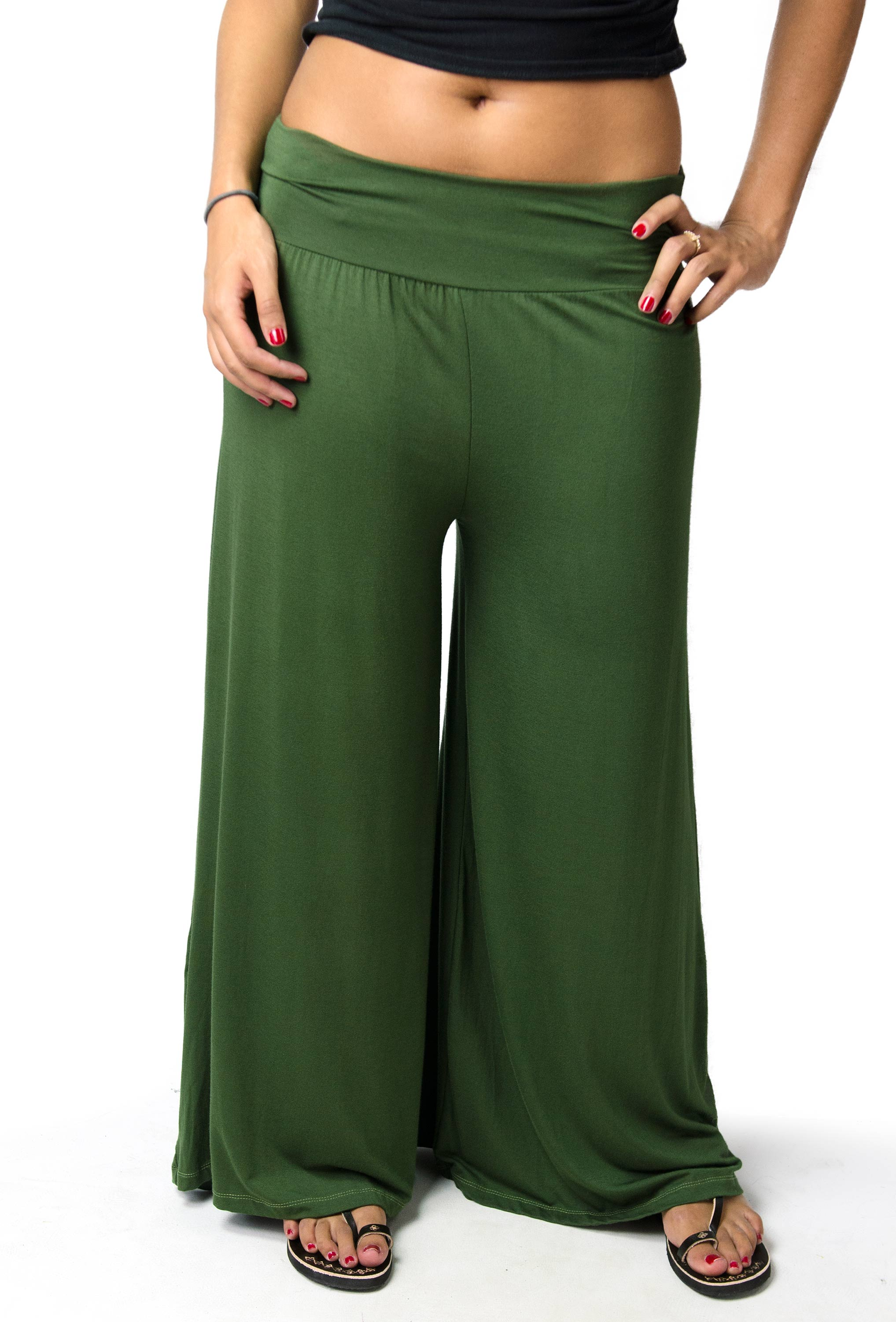 Wide Leg Pants, Solid Color, Olive - 2368-G
