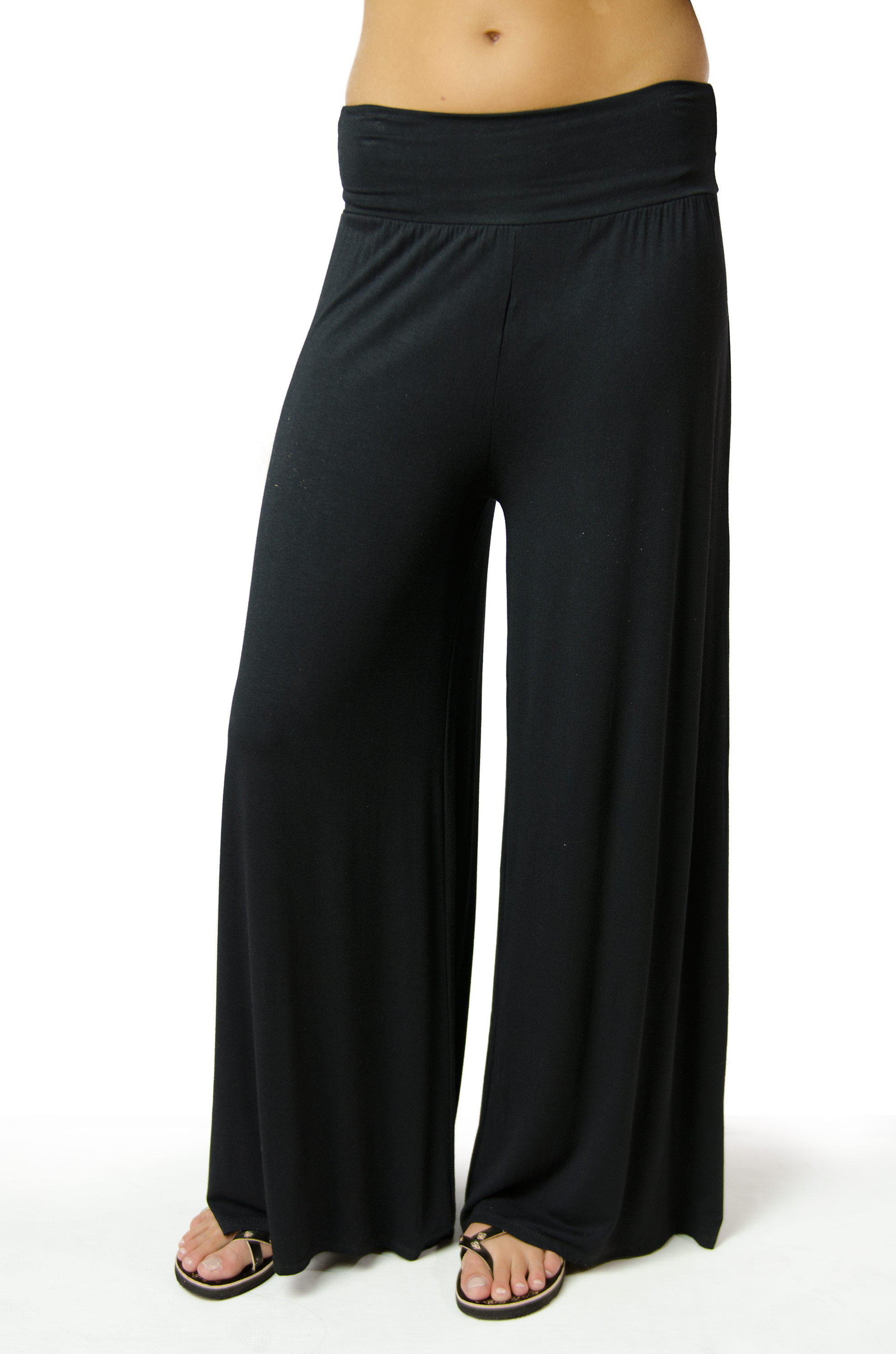 Wide Leg Pant, Solid Color, Black - 2368-K