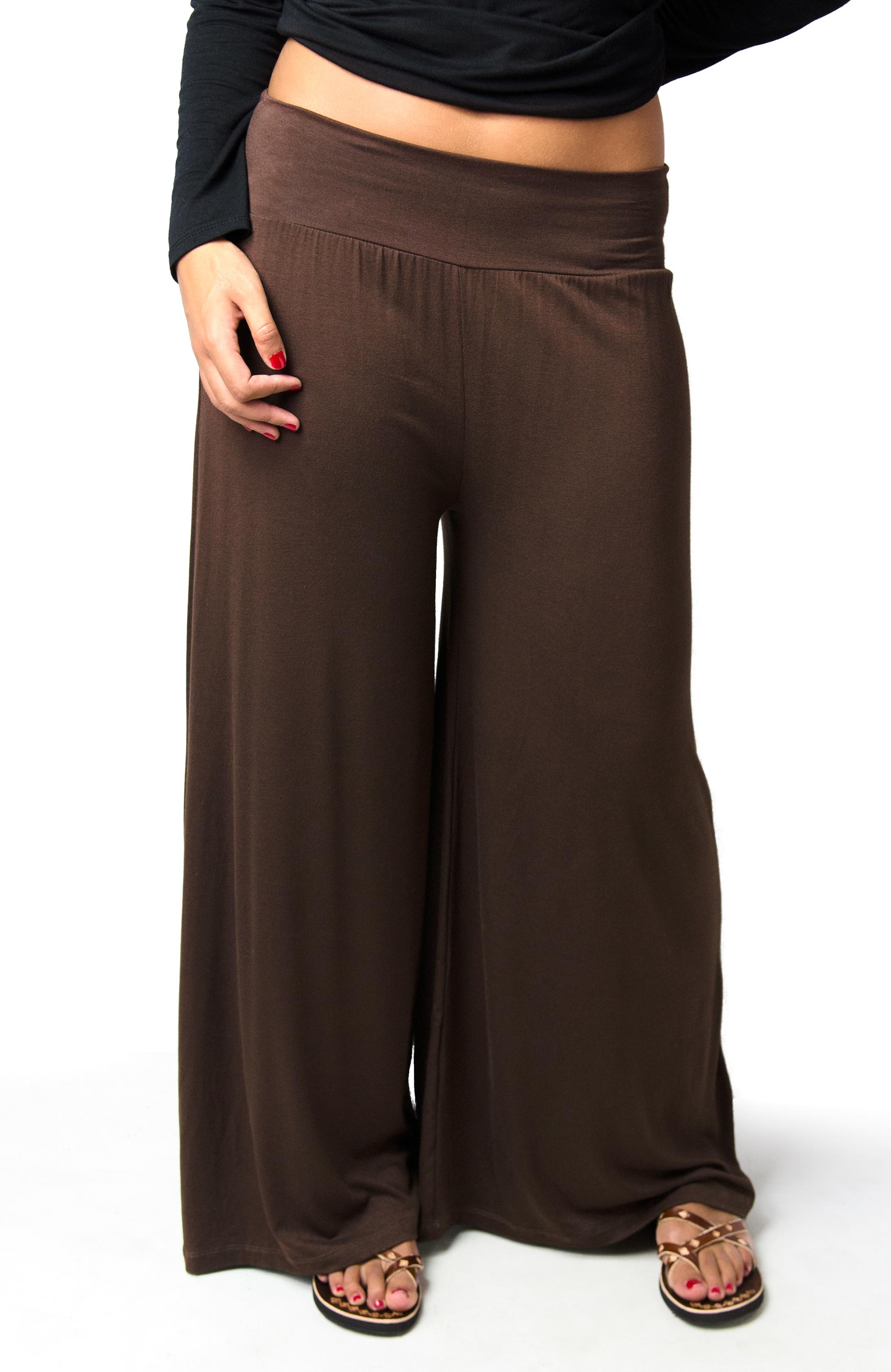 Wide Leg Pants, Solid Color, Brown - 2368-N