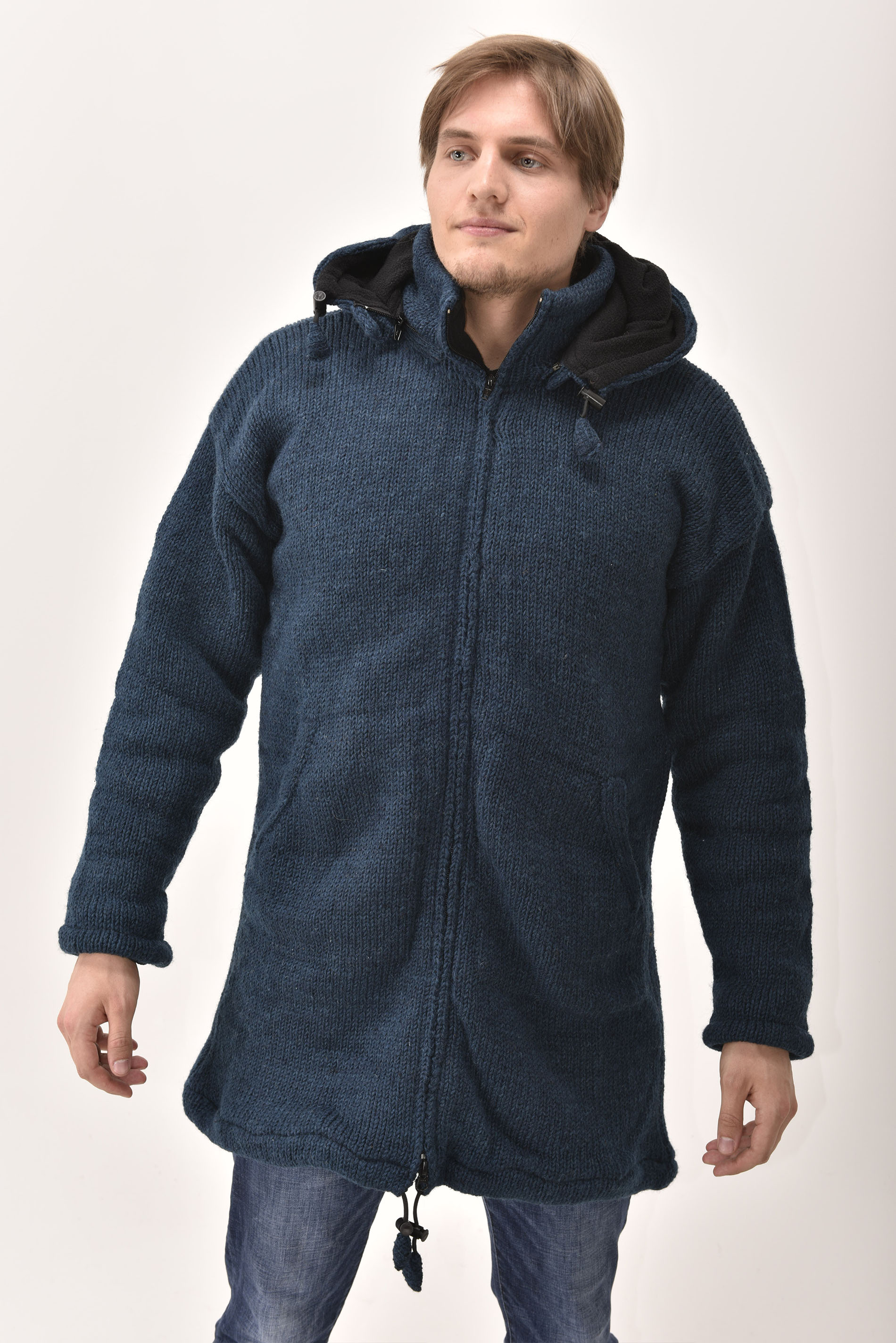 Himalayan Mountain Jacket Long Length, Solid Dark Blue