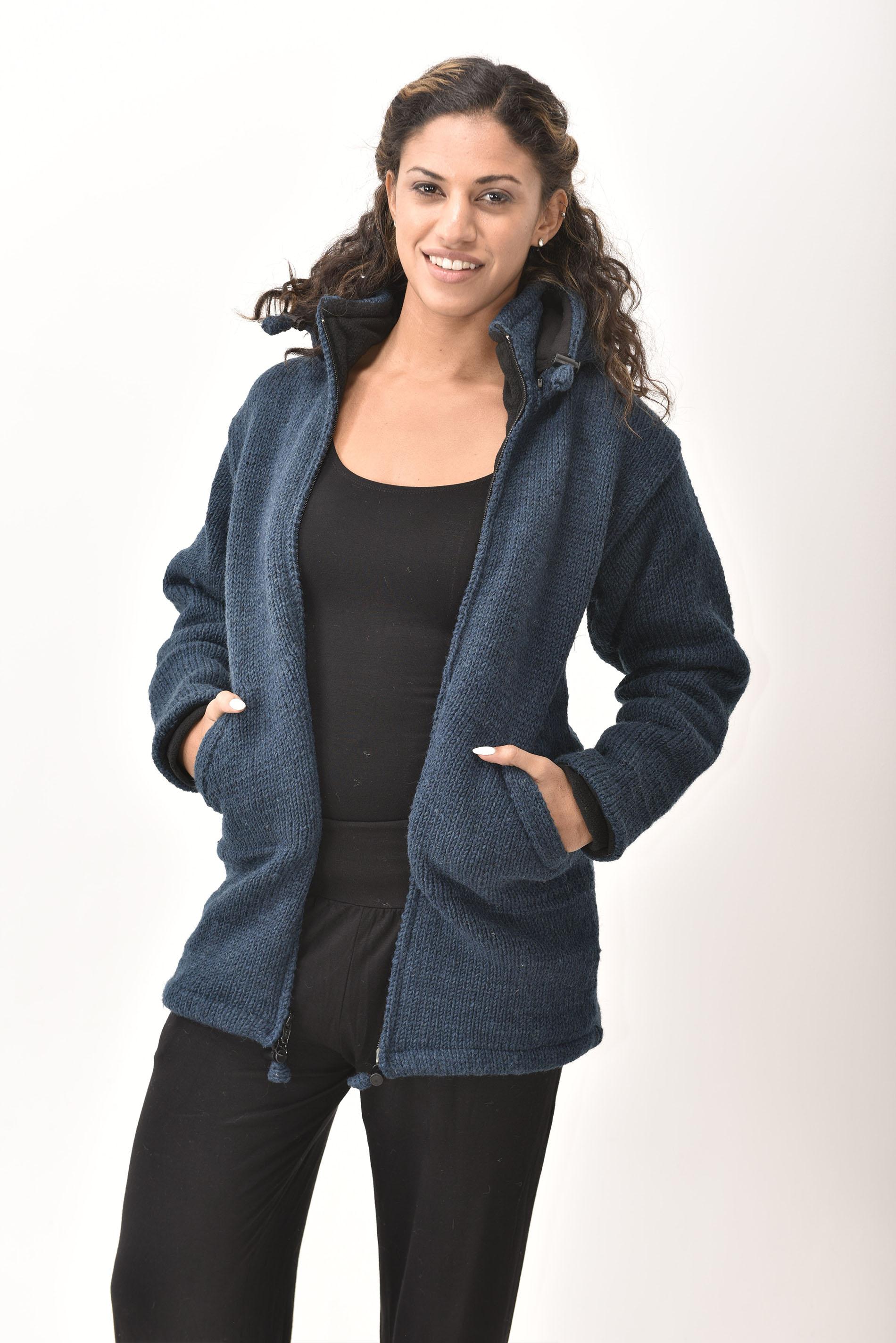 Himalayan Mountain Jacket Long Length, Solid Dark Blue