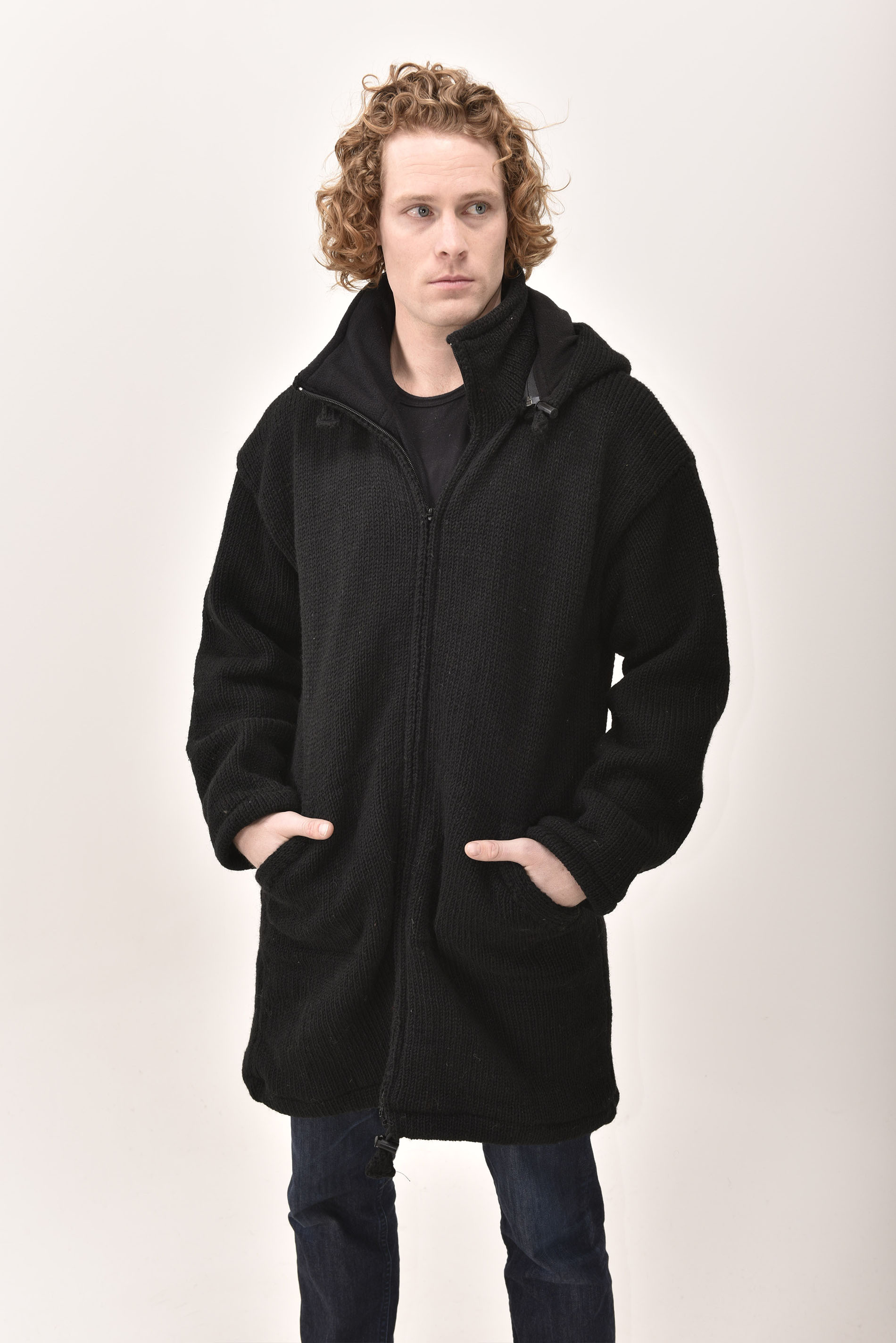 Himalayan Mountain Jacket Long Length, Solid Black