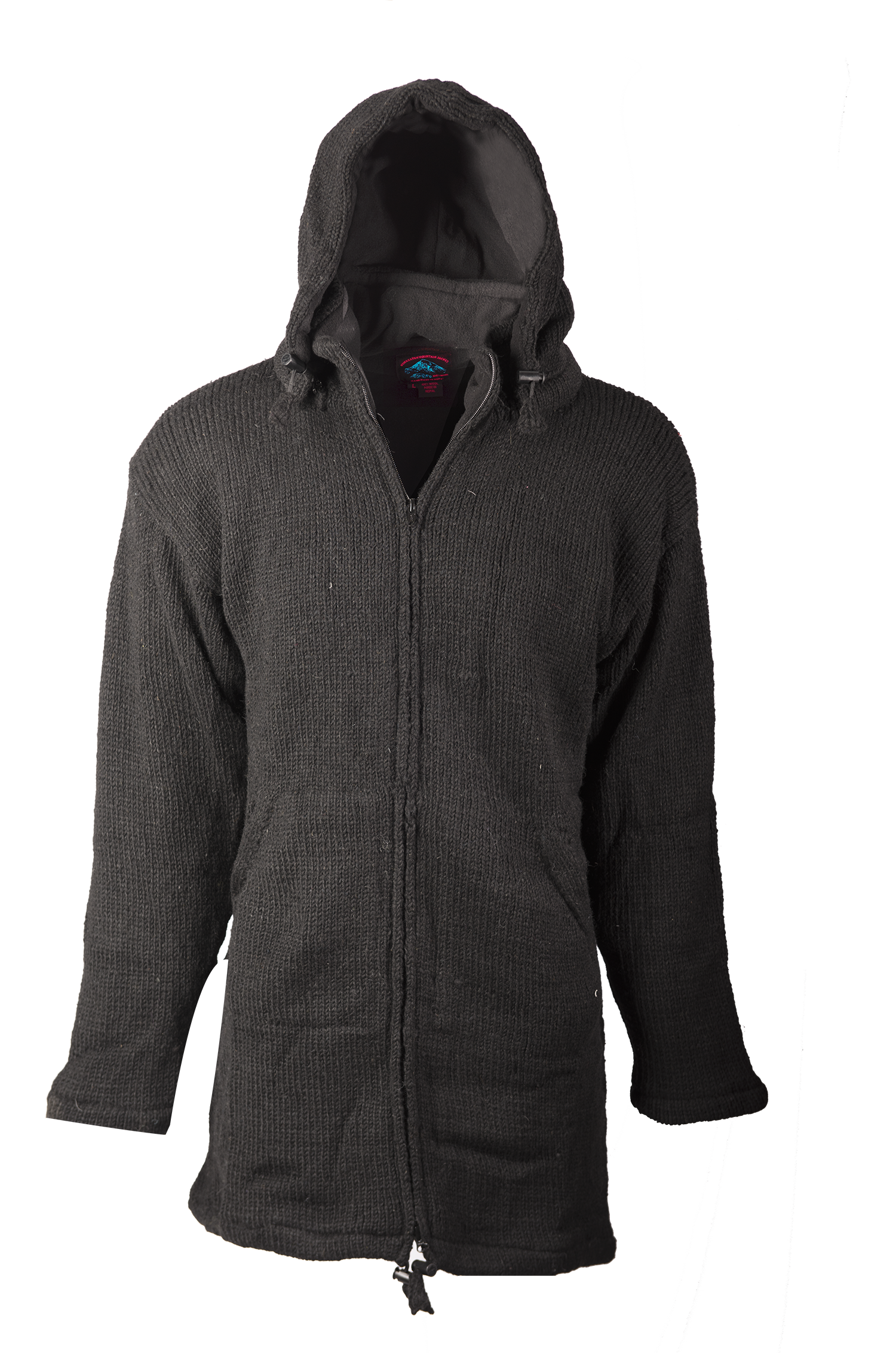 Himalayan Mountain Jacket Long Length, Solid Black