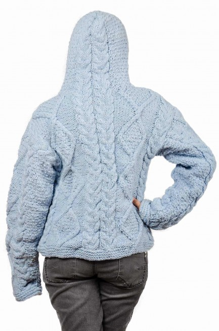 Wool Cable Knit Himalayan Mountain Jacket Baby Blue