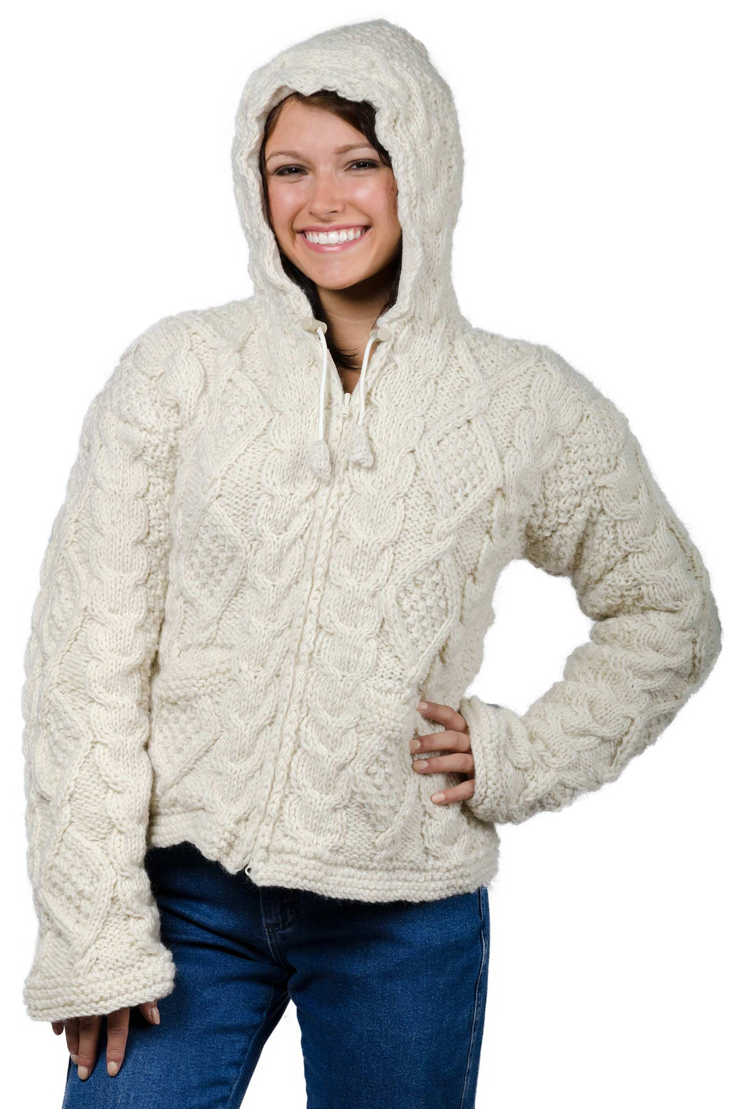 Wool Cable Knit Himalayan Mountain – Long Length Cream