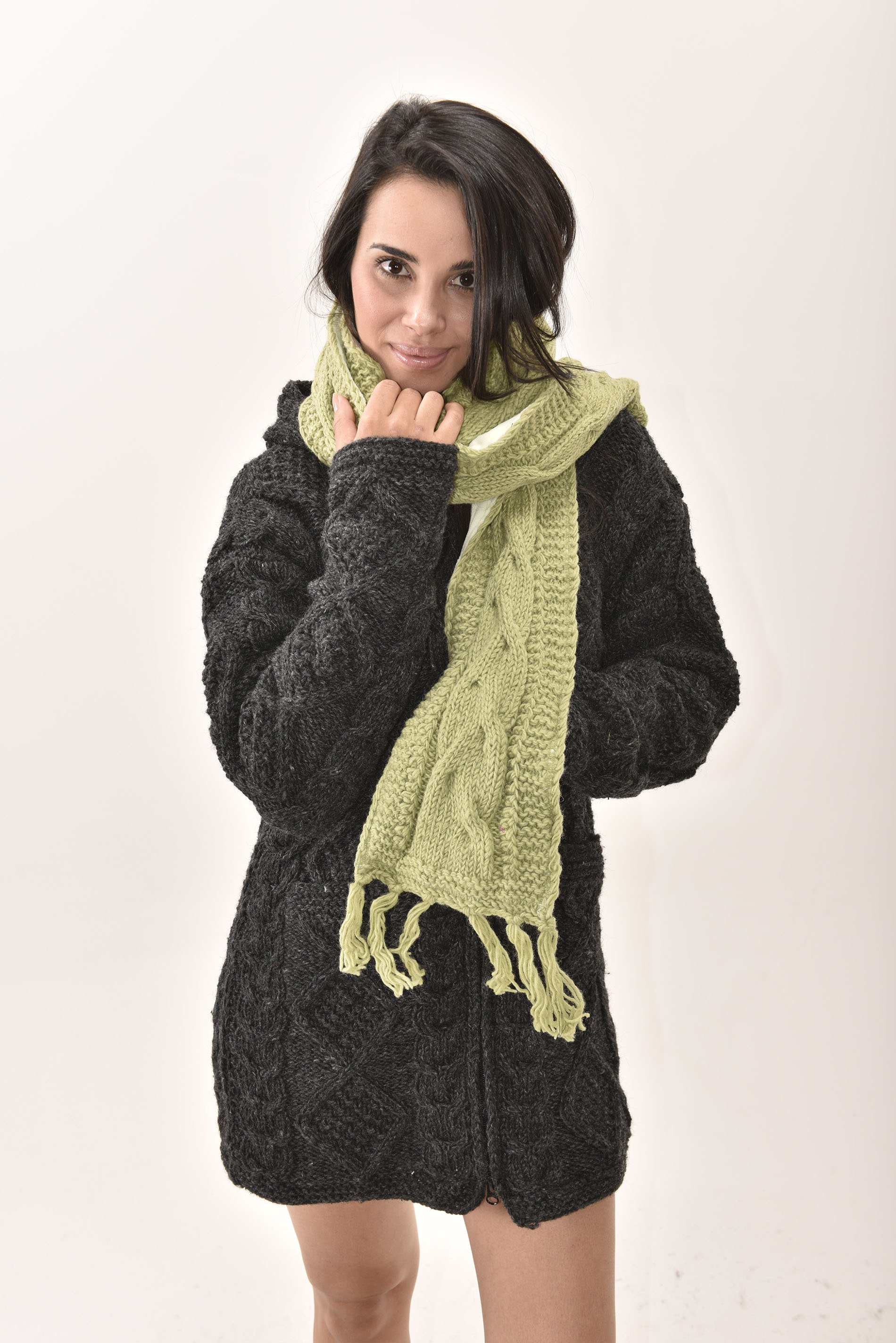 Scarf Cable Knit, Green