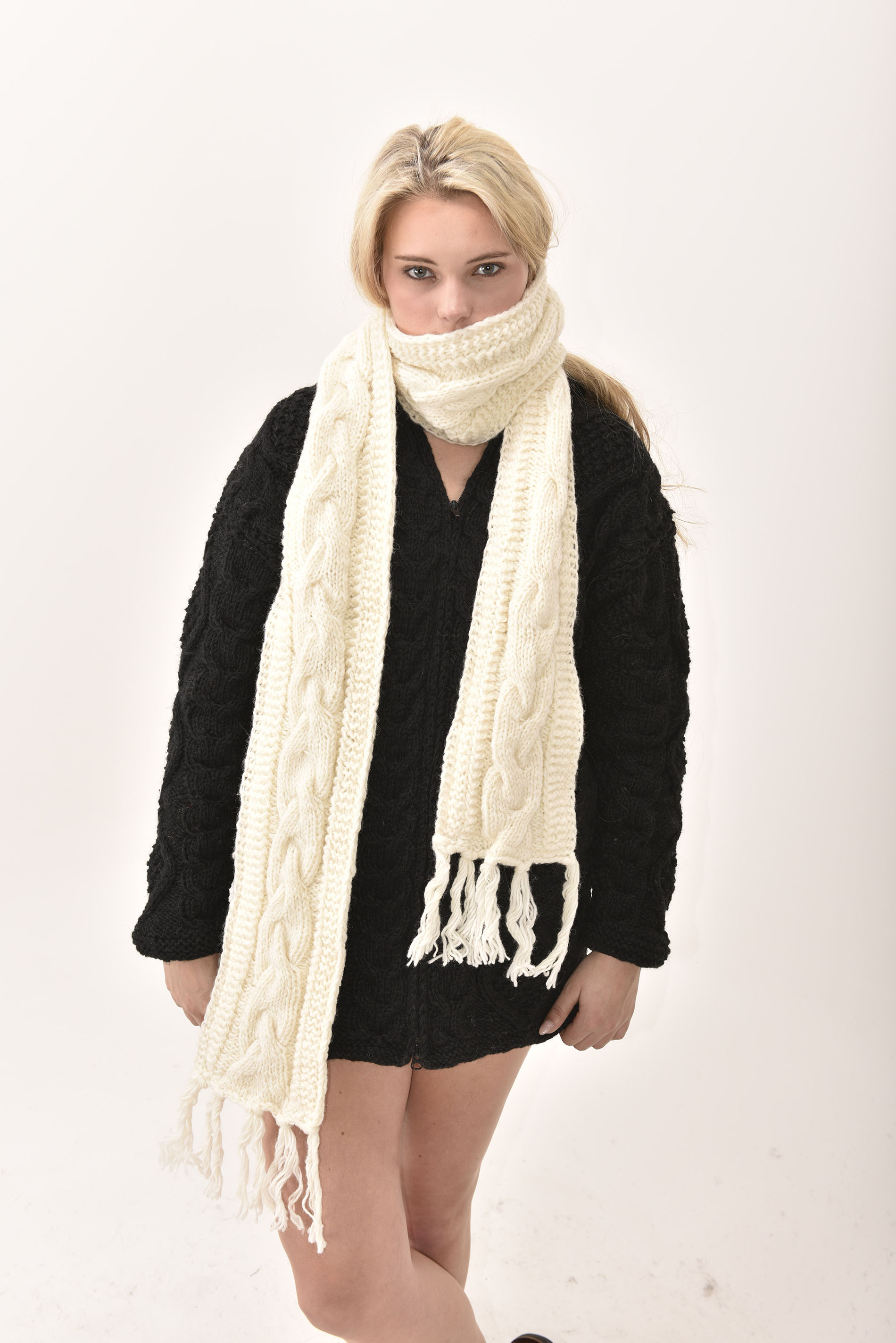 Scarf Cable Knit, Cream