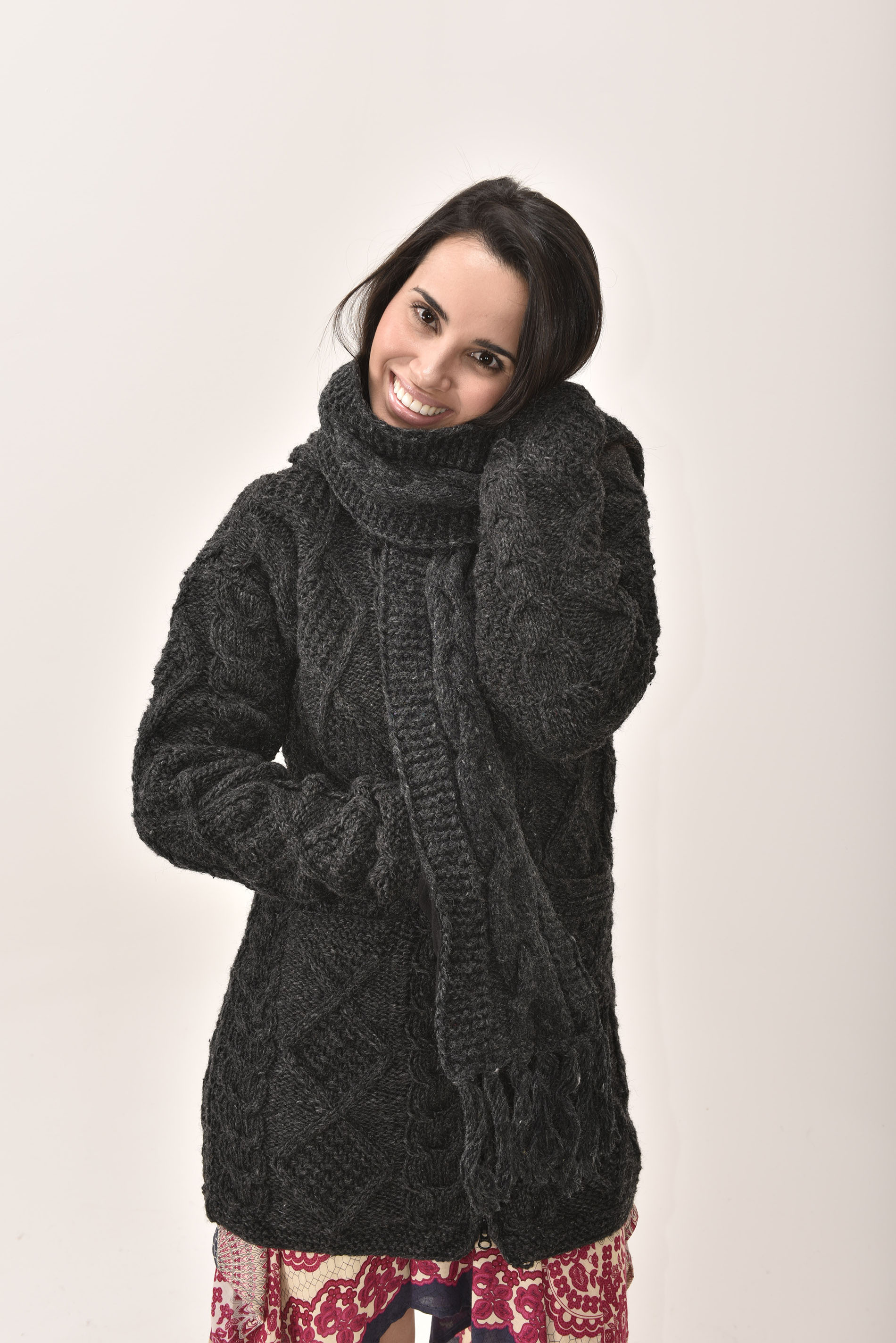 Scarf Cable Knit, Grey