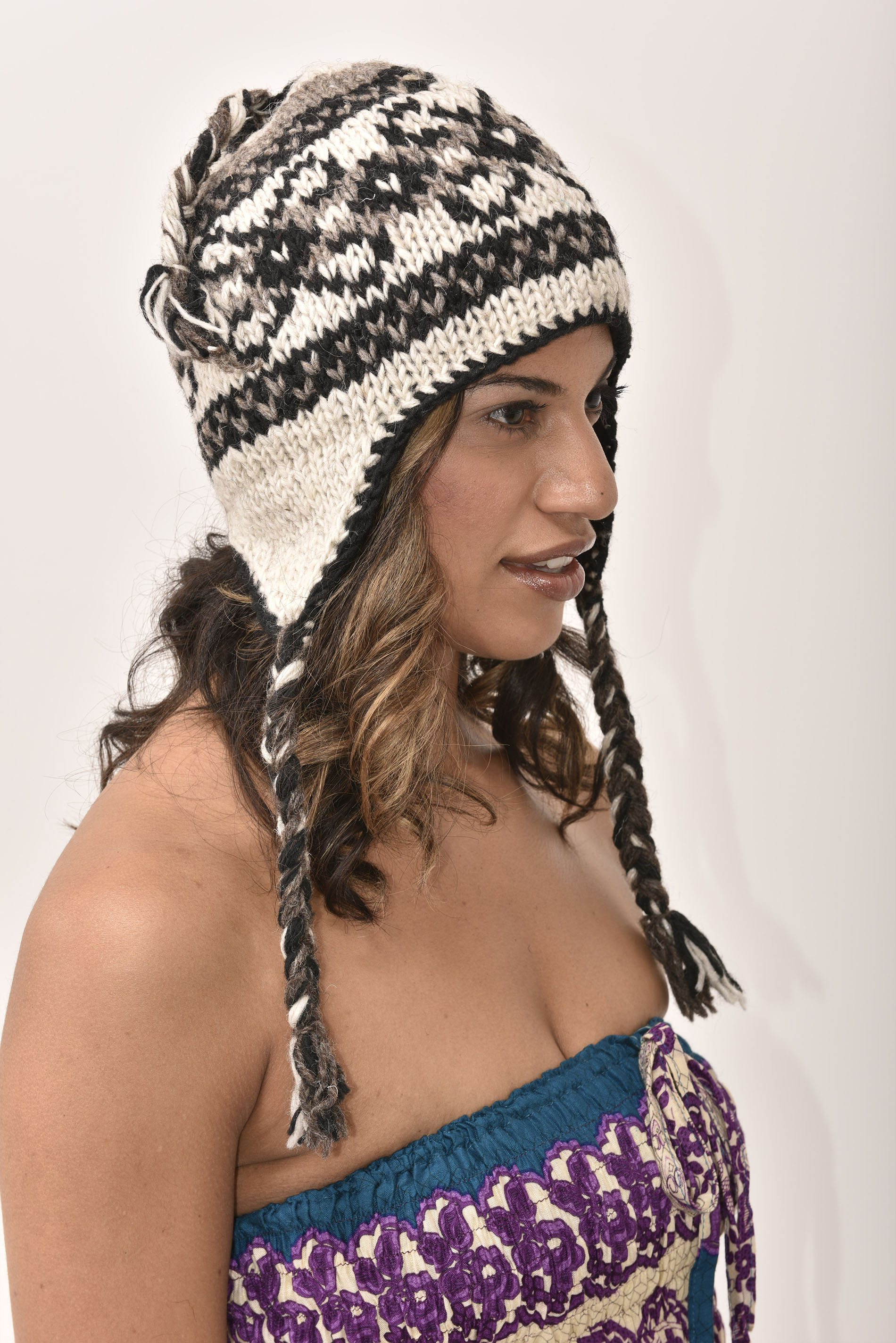 Sherpa Hat Vintage Pattern, Grey
