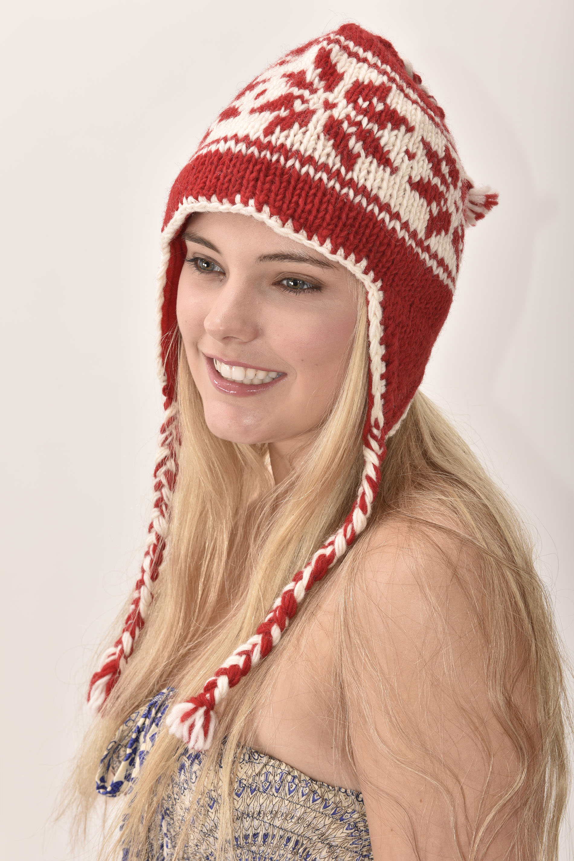 Sherpa Hat Snowflake, Red