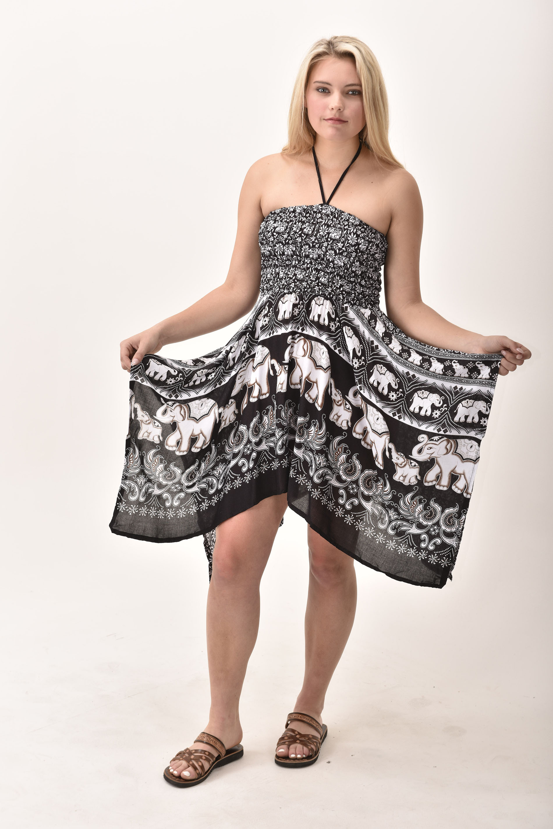 Elephant Print Rayon Fairy Dress / Skirt Black