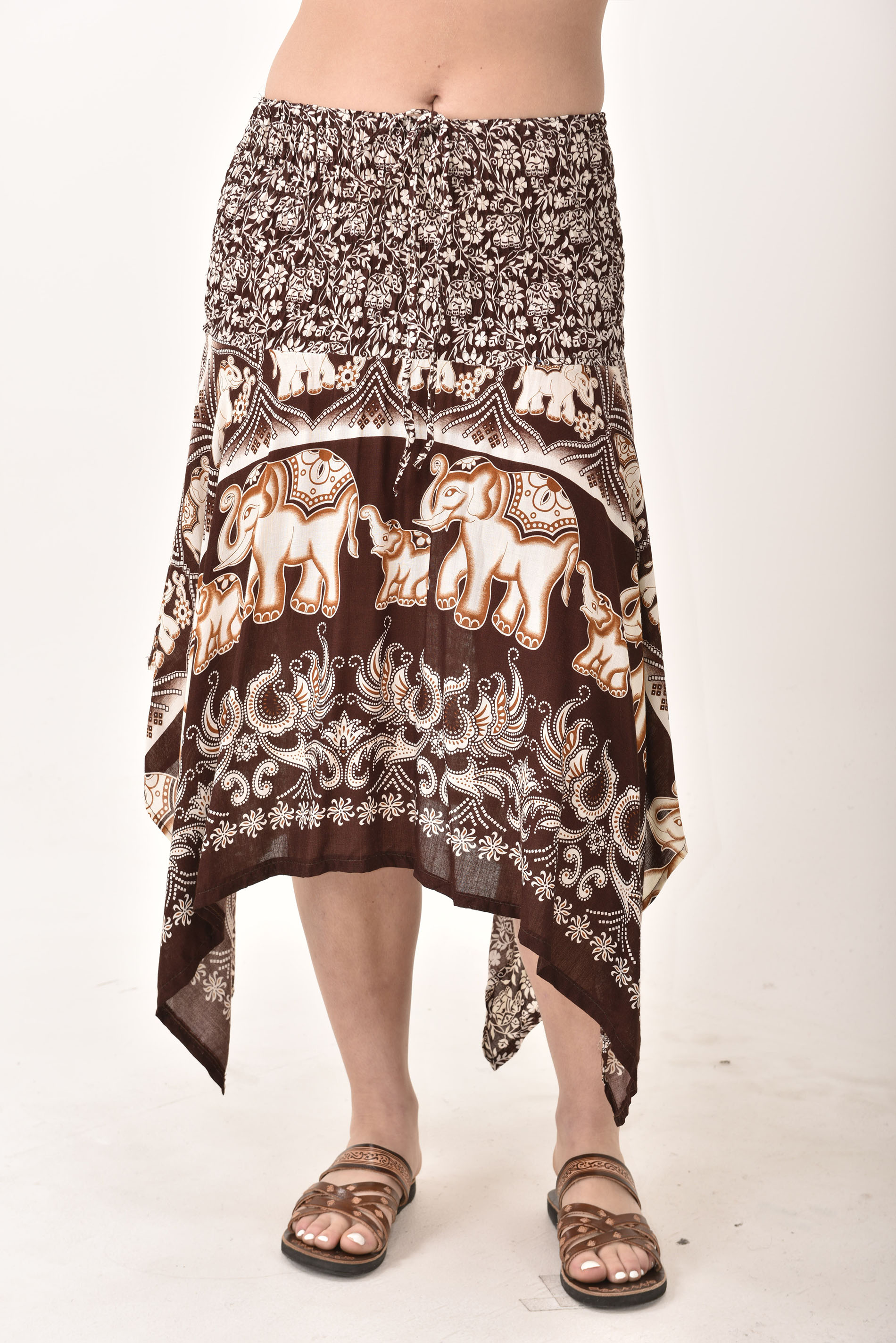 Elephant Print Fairy Dress / Skirt Brown