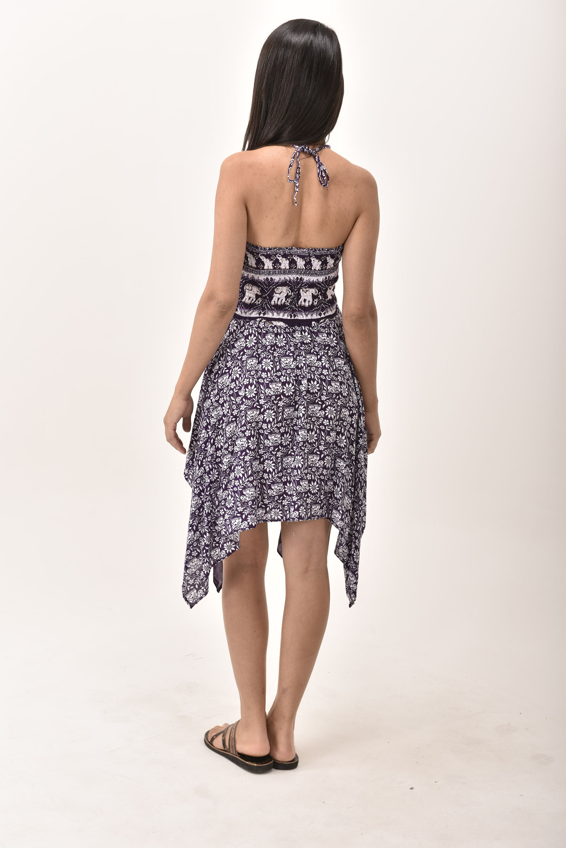 Elephant Print Rayon Fairy Dress / Skirt Purple