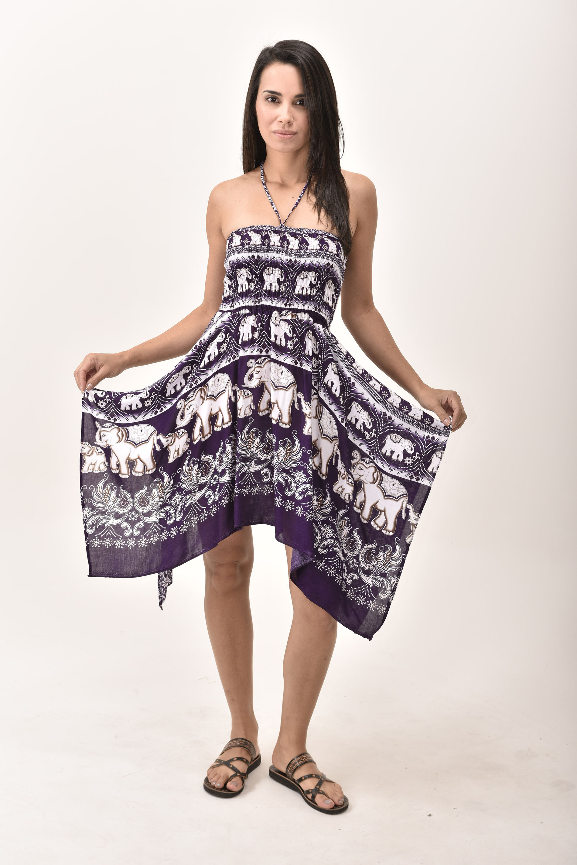 Elephant Print Rayon Fairy Dress / Skirt Purple
