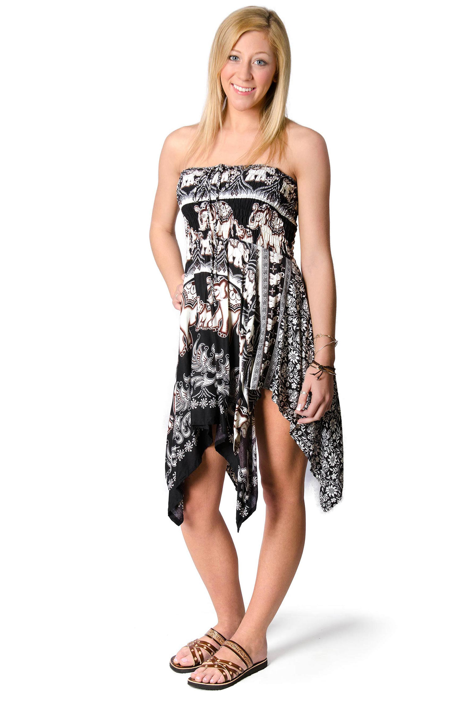 Elephant Print Convertible Fairy Dress - Skirt - Black