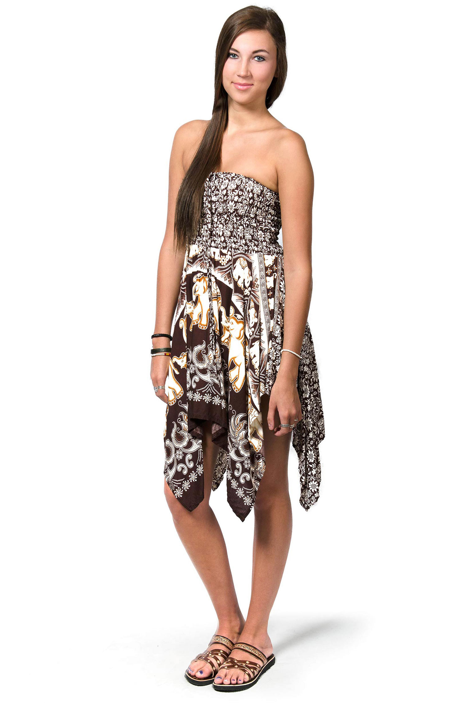Elephant Print Convertible Fairy Dress - Skirt - Brown