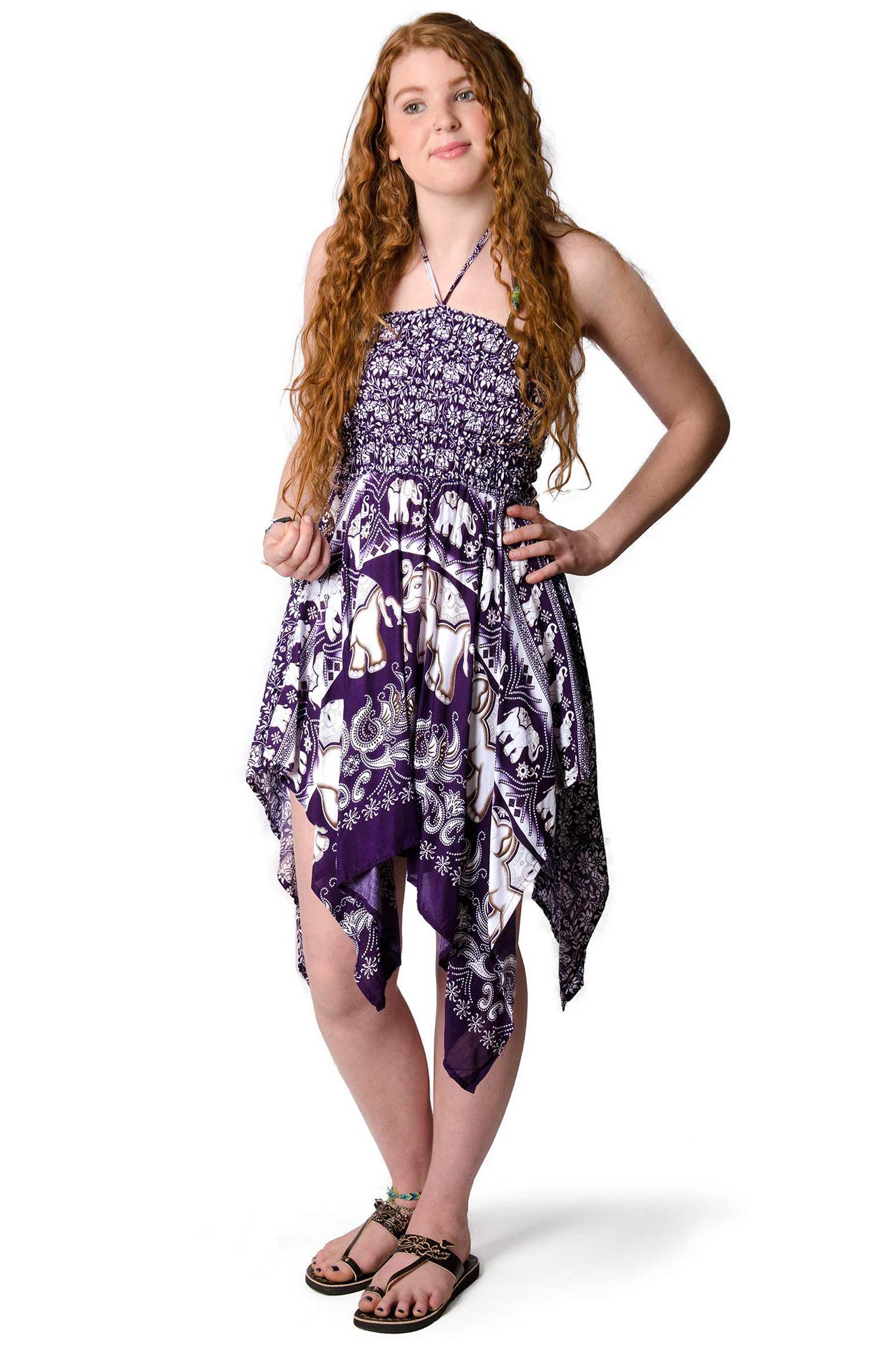 Elephant Print Convertible Fairy Dress - Skirt - Purple