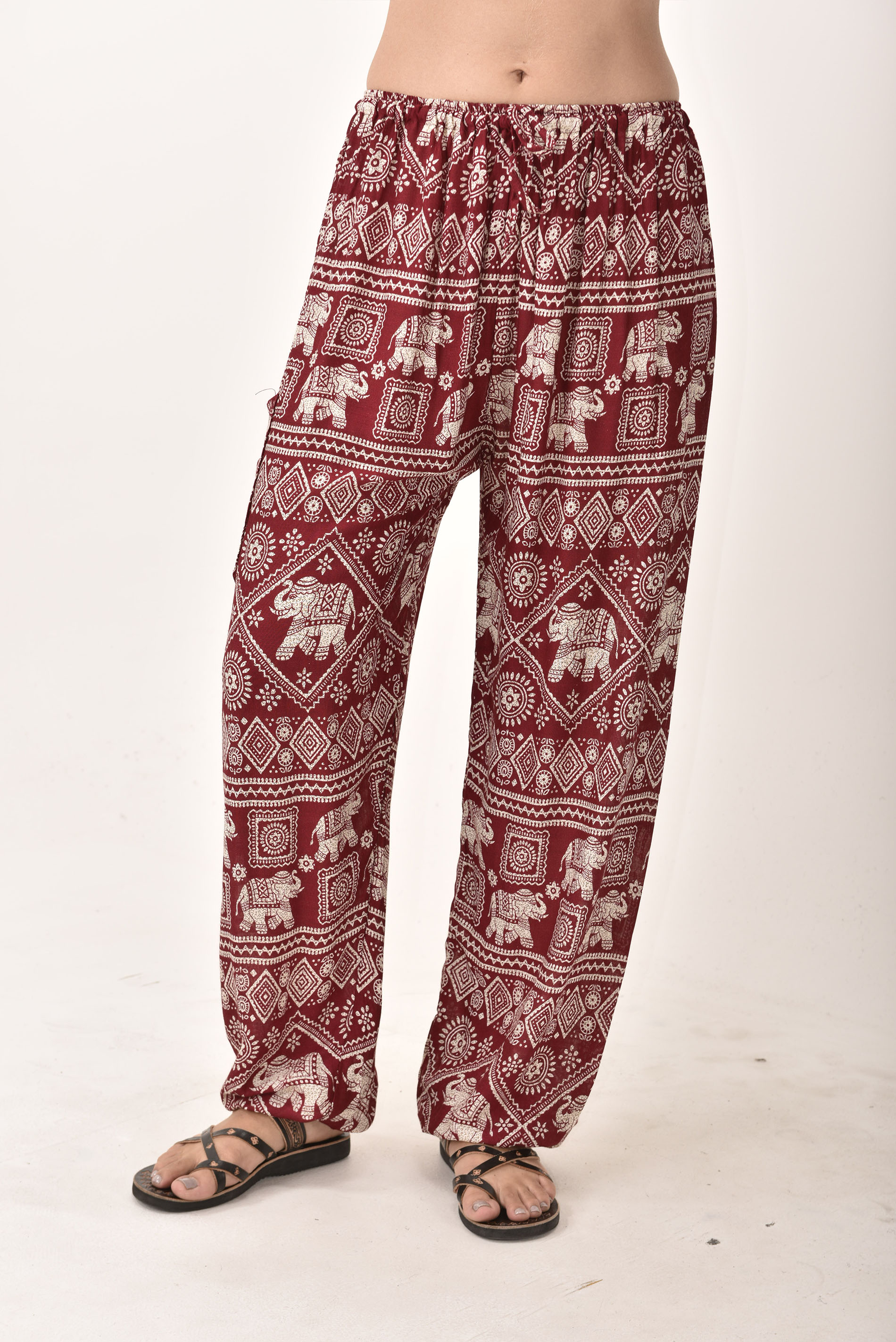 Drawstring Pants Elephant Print, Red