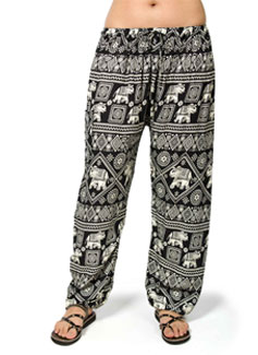 Elephant Print Drawstring Pants - Black
