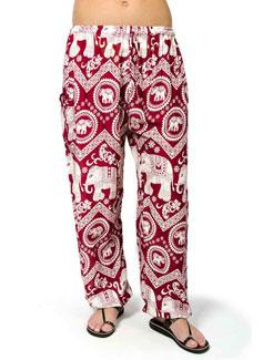 Elephant Print Drawstring Pants - Red