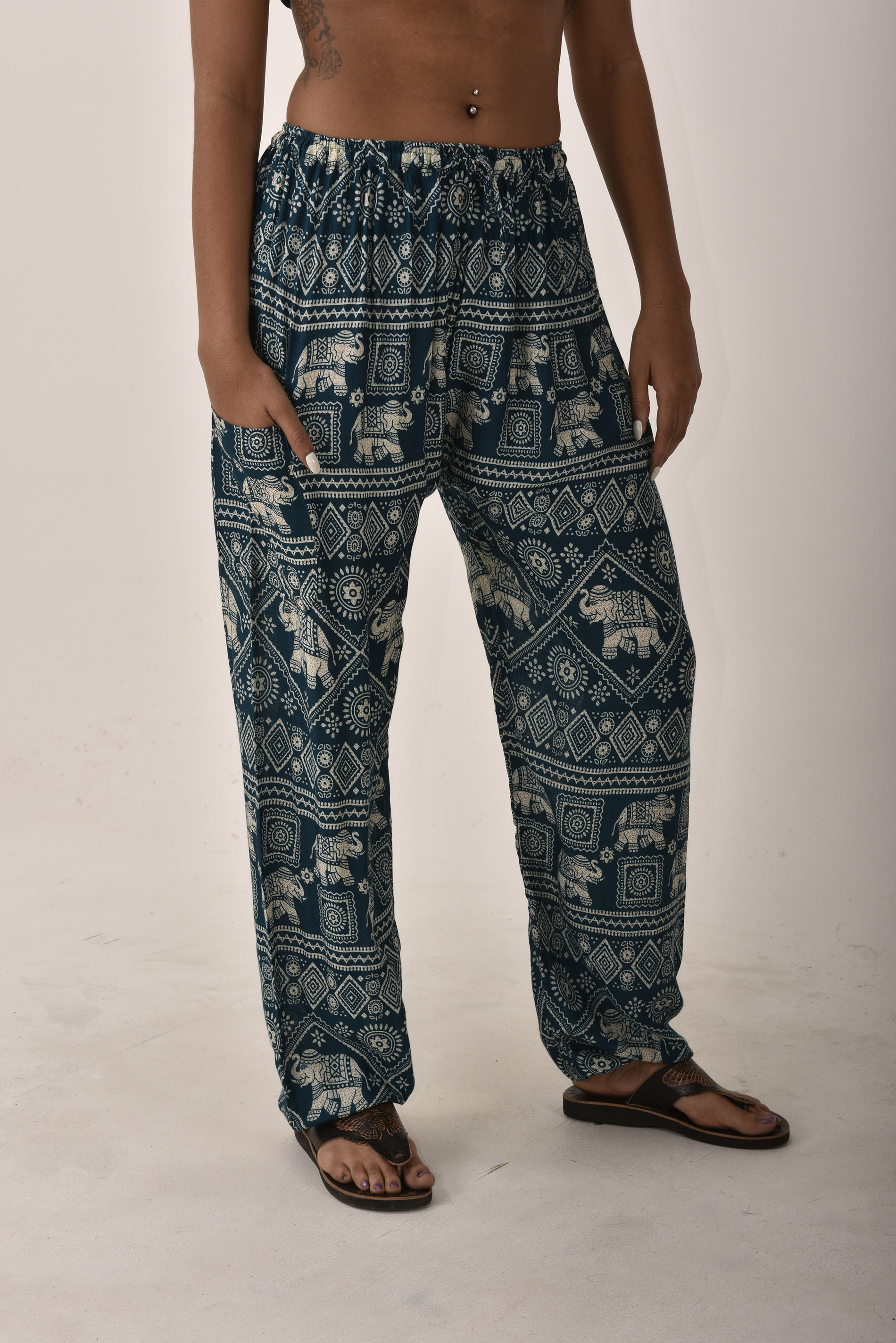 Drawstring Pants Elephant Print, Teal - 3096T