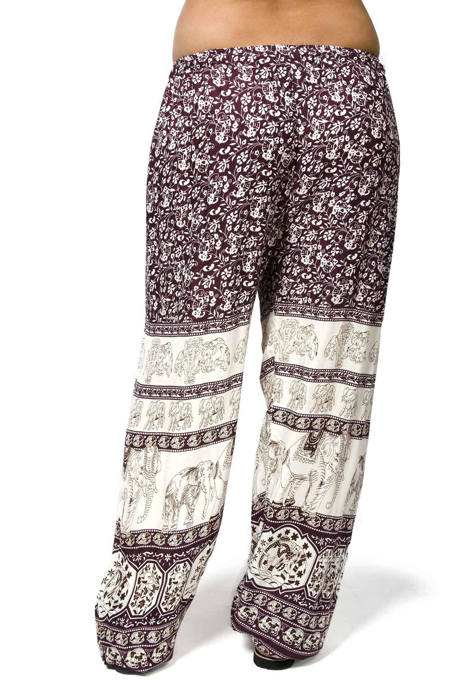 Thai Elephant Print Drawstring Pants Purple