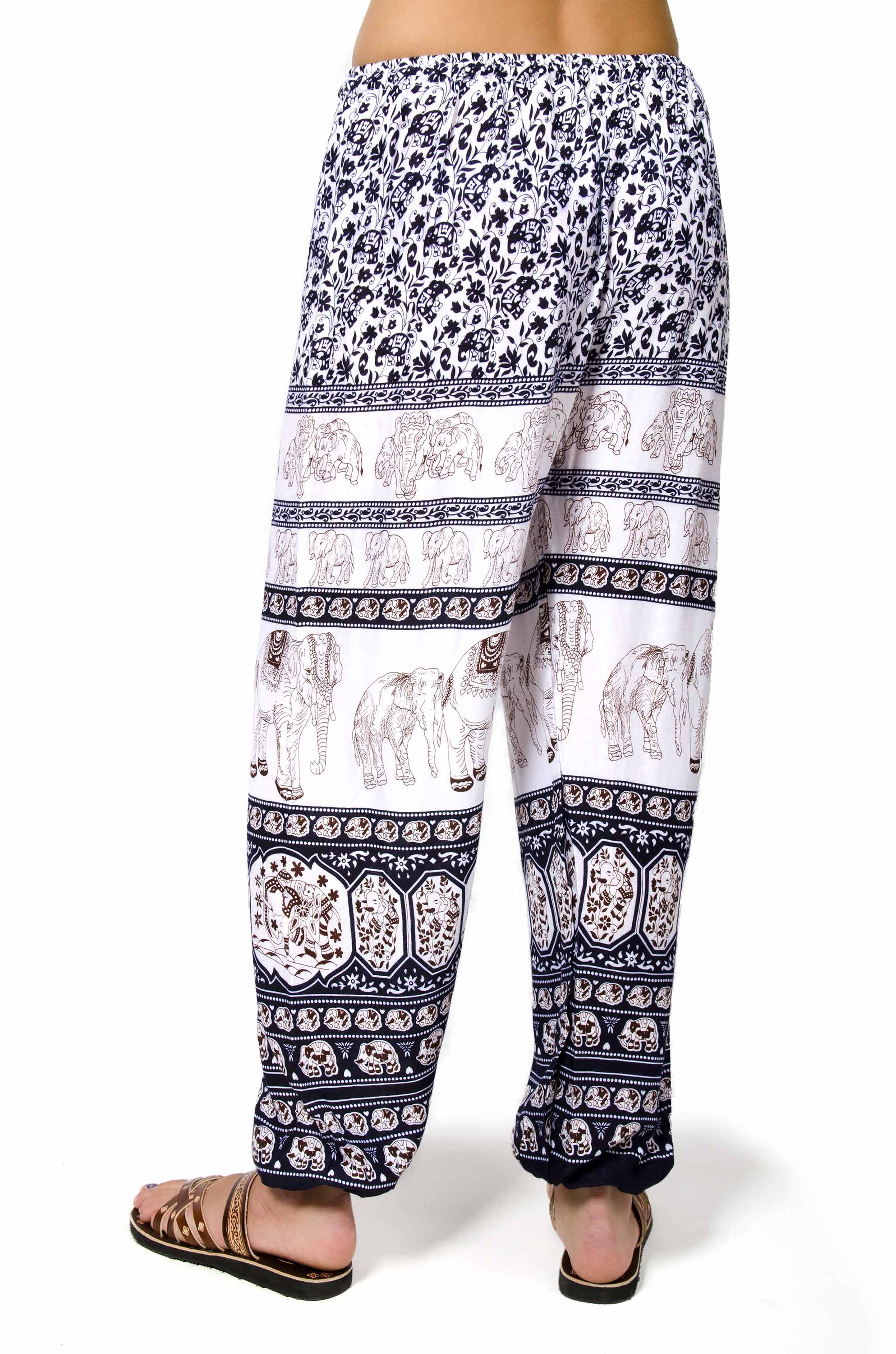 Elephant Print Drawstring Pants - Navy