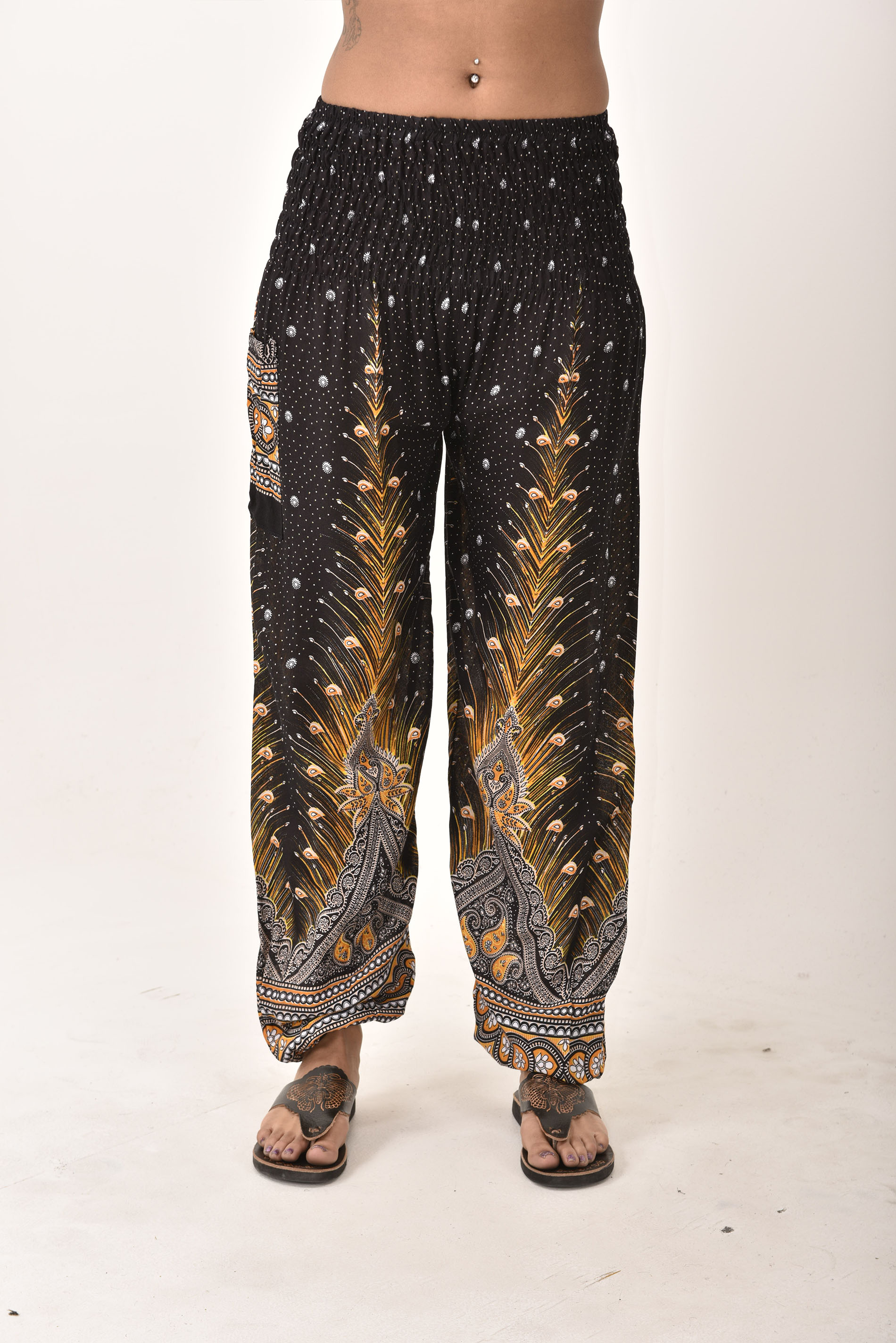 Smocked Waist Pants Peacock Print, Black