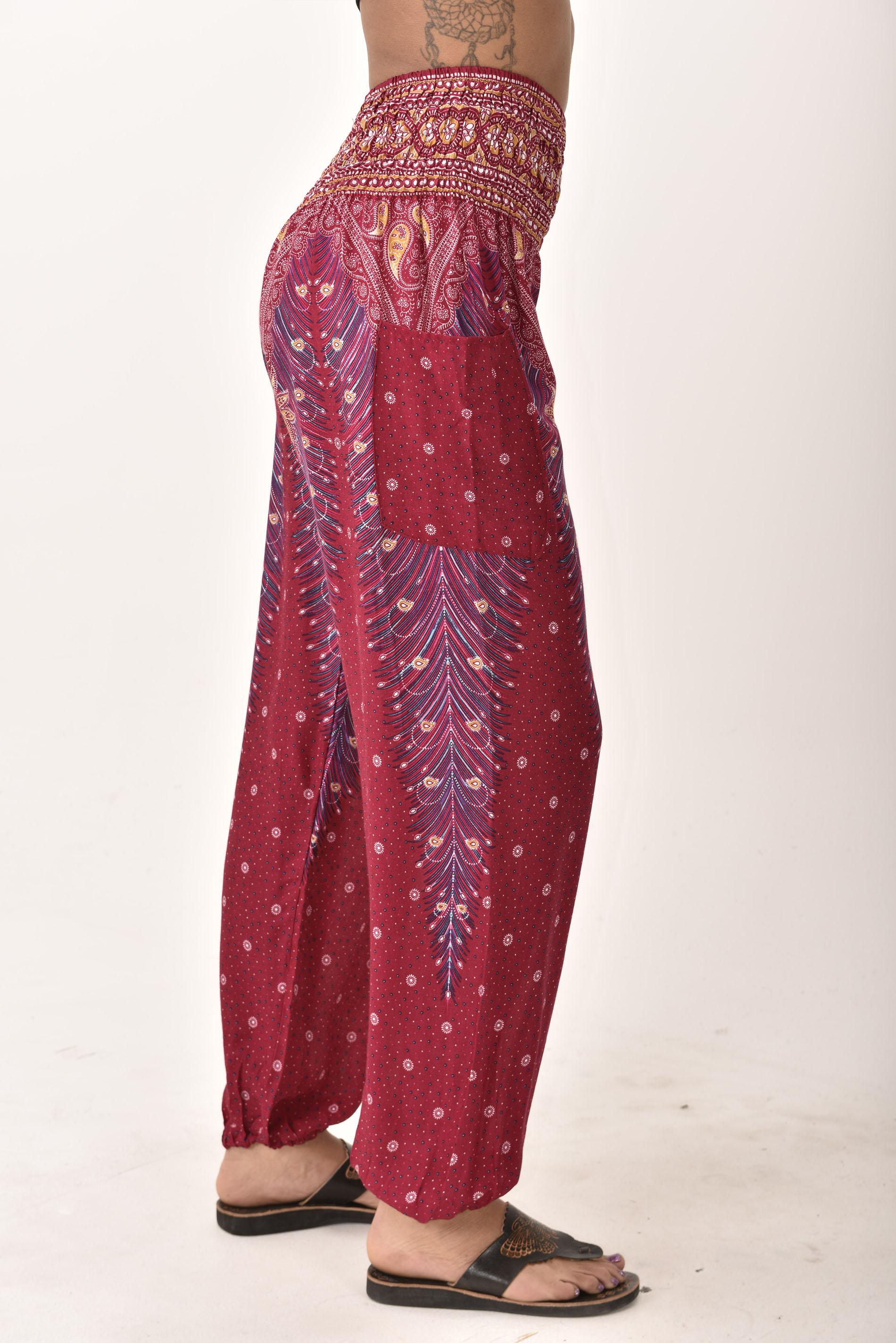 Smocked Waist Pants, Peacock Print, Red