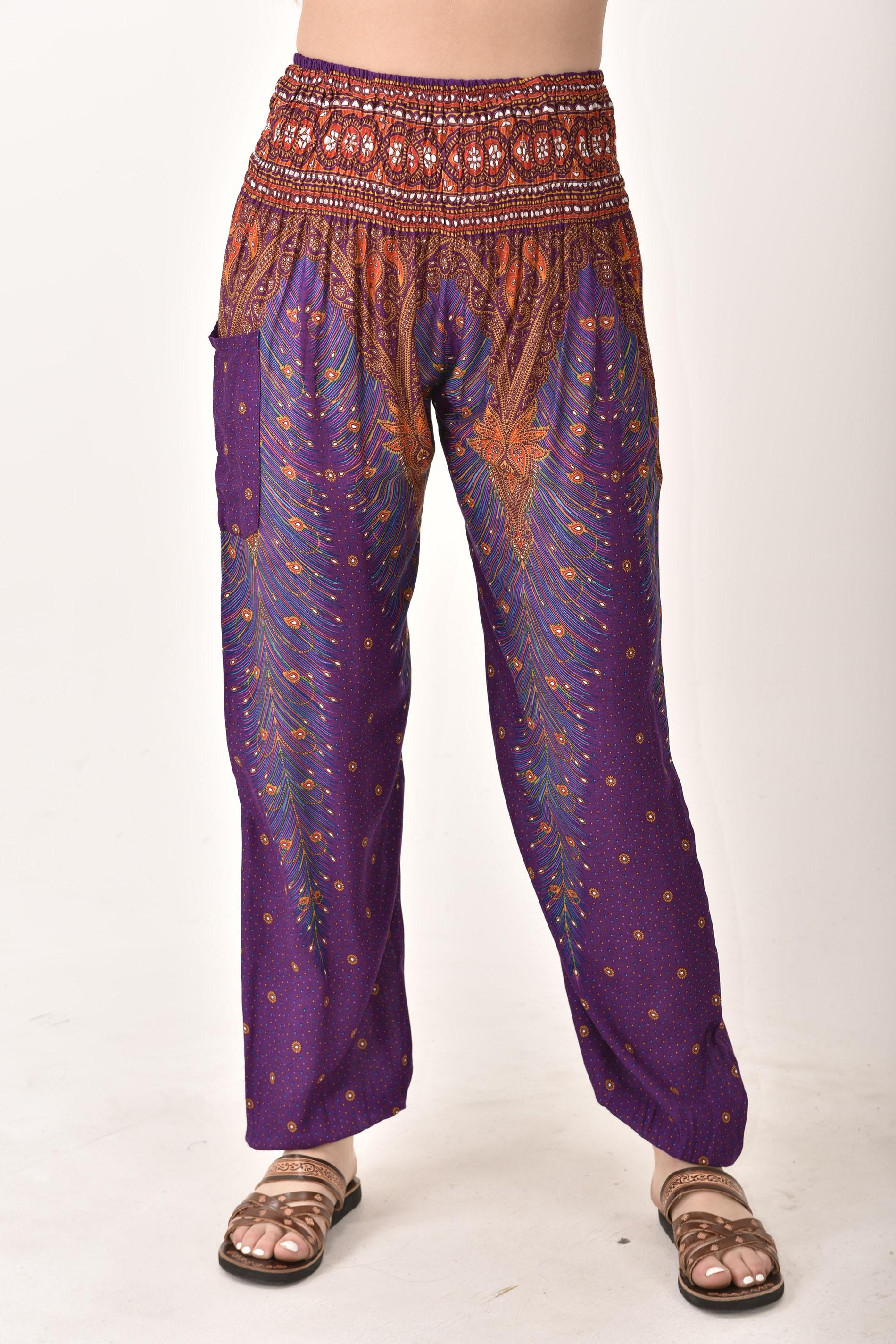 Smocked Waist Pants Peacock Print, Purple