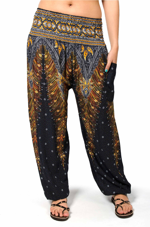Peacock Print Smocked Waist Pants - Black