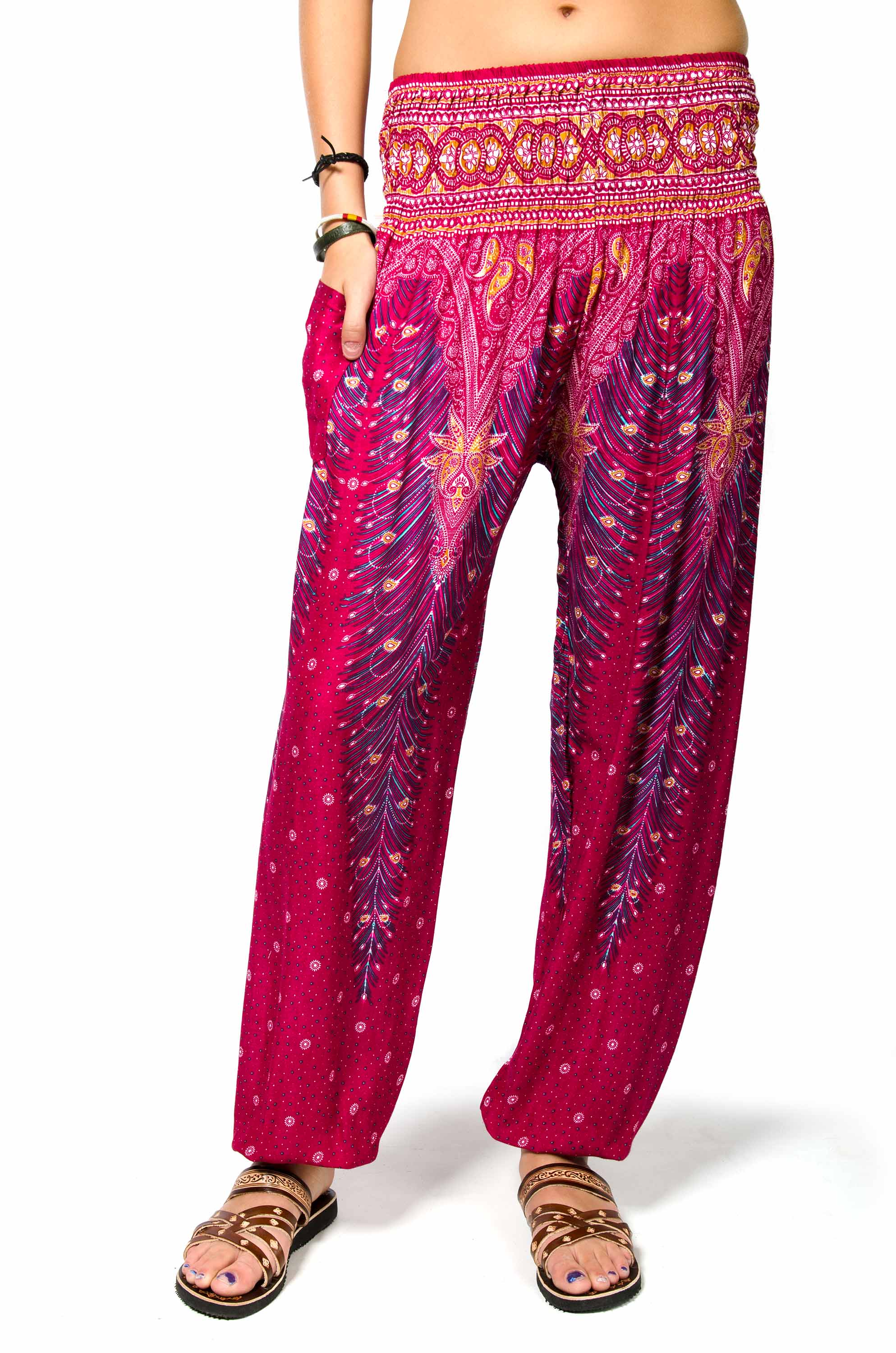 Peacock Print Smocked Waist Pants - Red