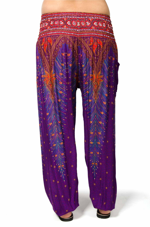 Peacock Print Smocked Waist Pants - Purple