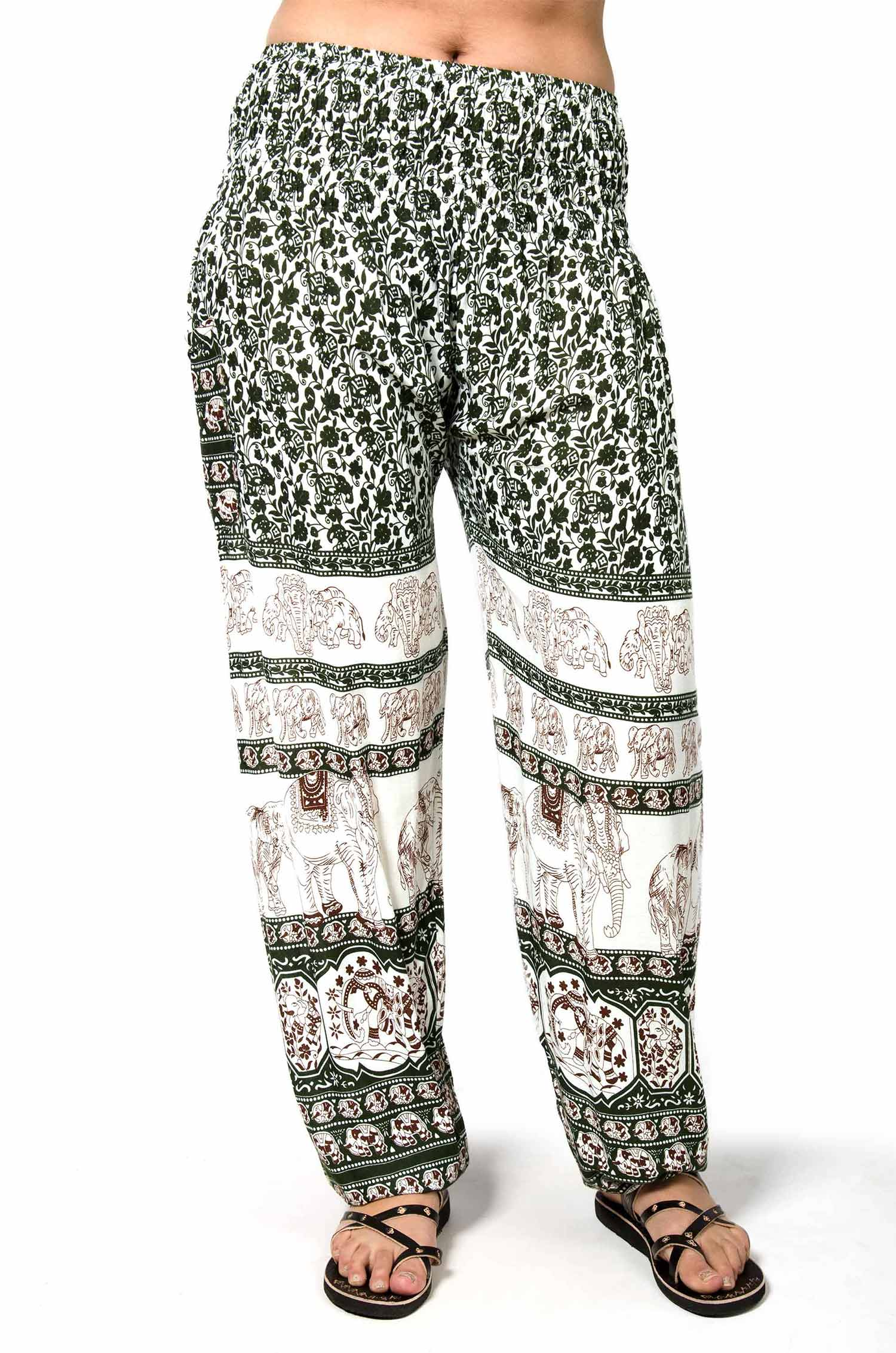 Thai Elephant Print Smocked Waist Pants Olive