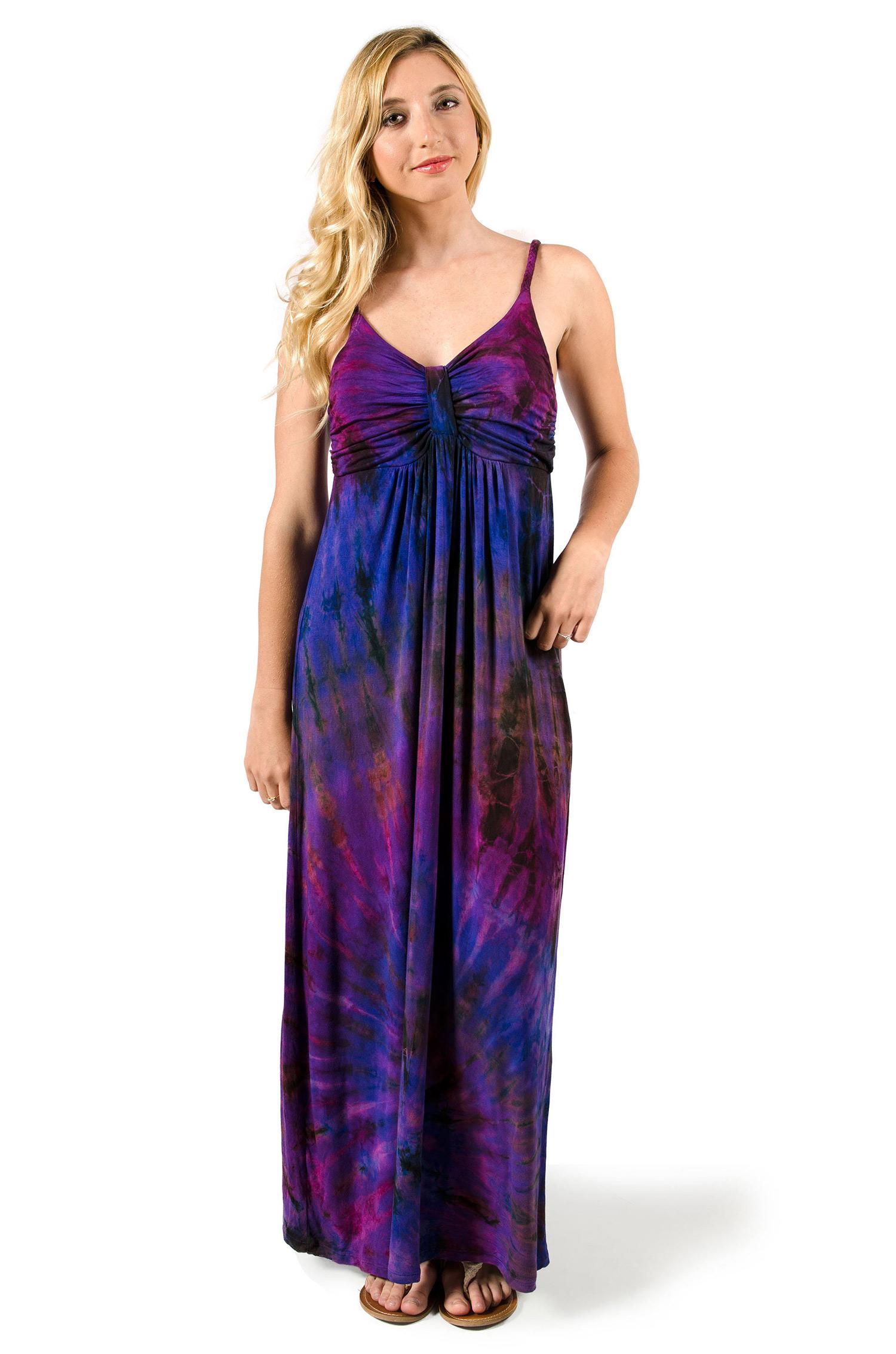Hand Painted Tie Dye Maxi Dress Purple