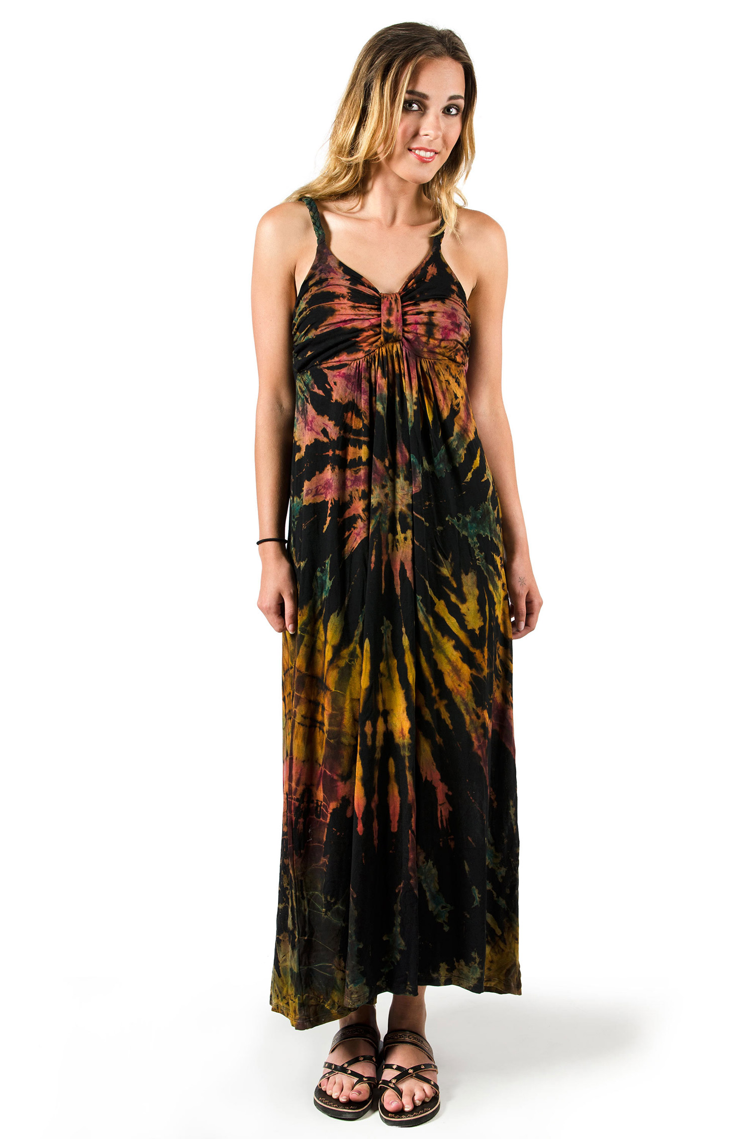 Hand Painted Tie Dye Maxi Dress Black Rust Multi