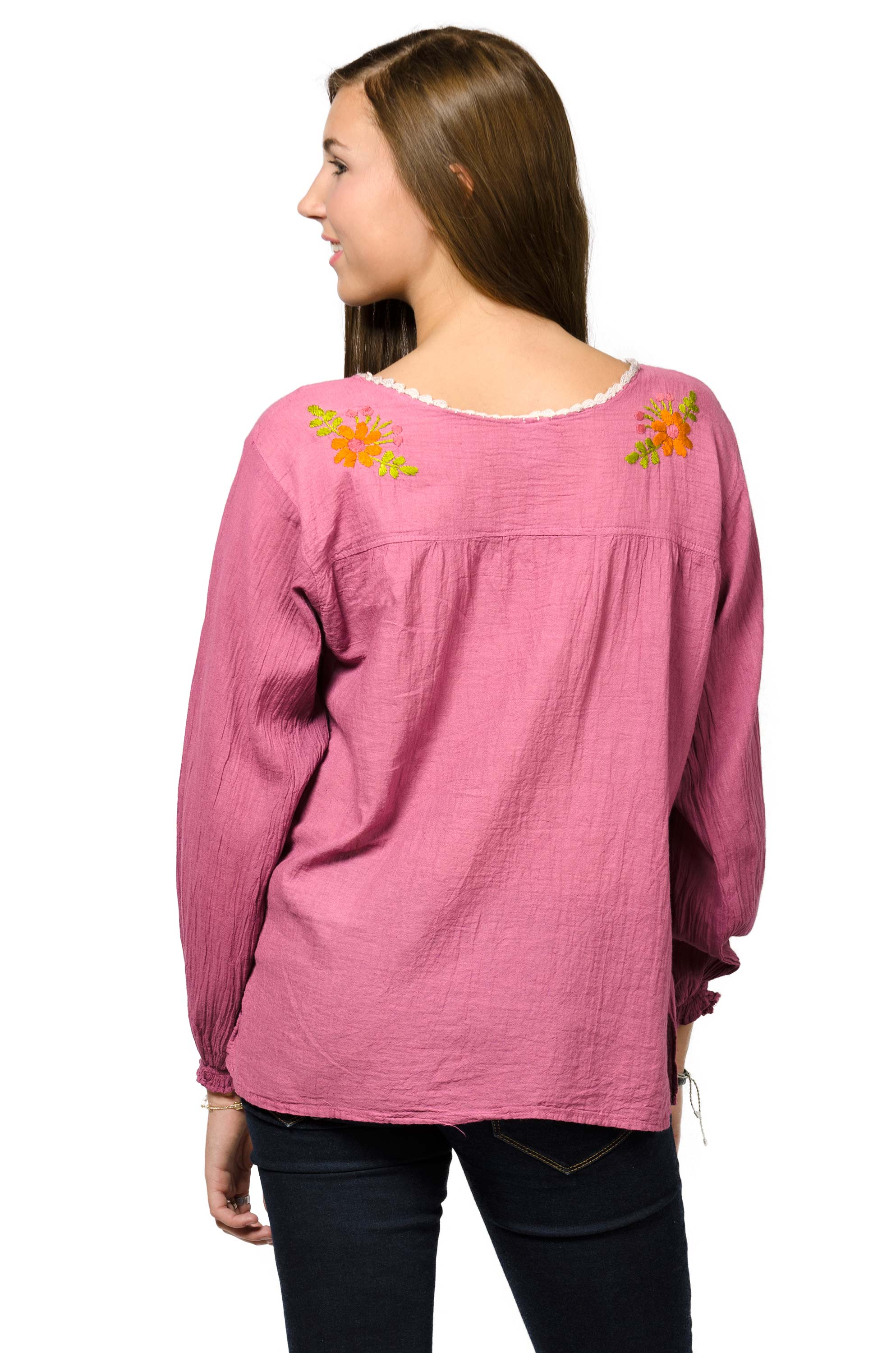 Long Sleeve Embroidered Peasant Blouse - Rose