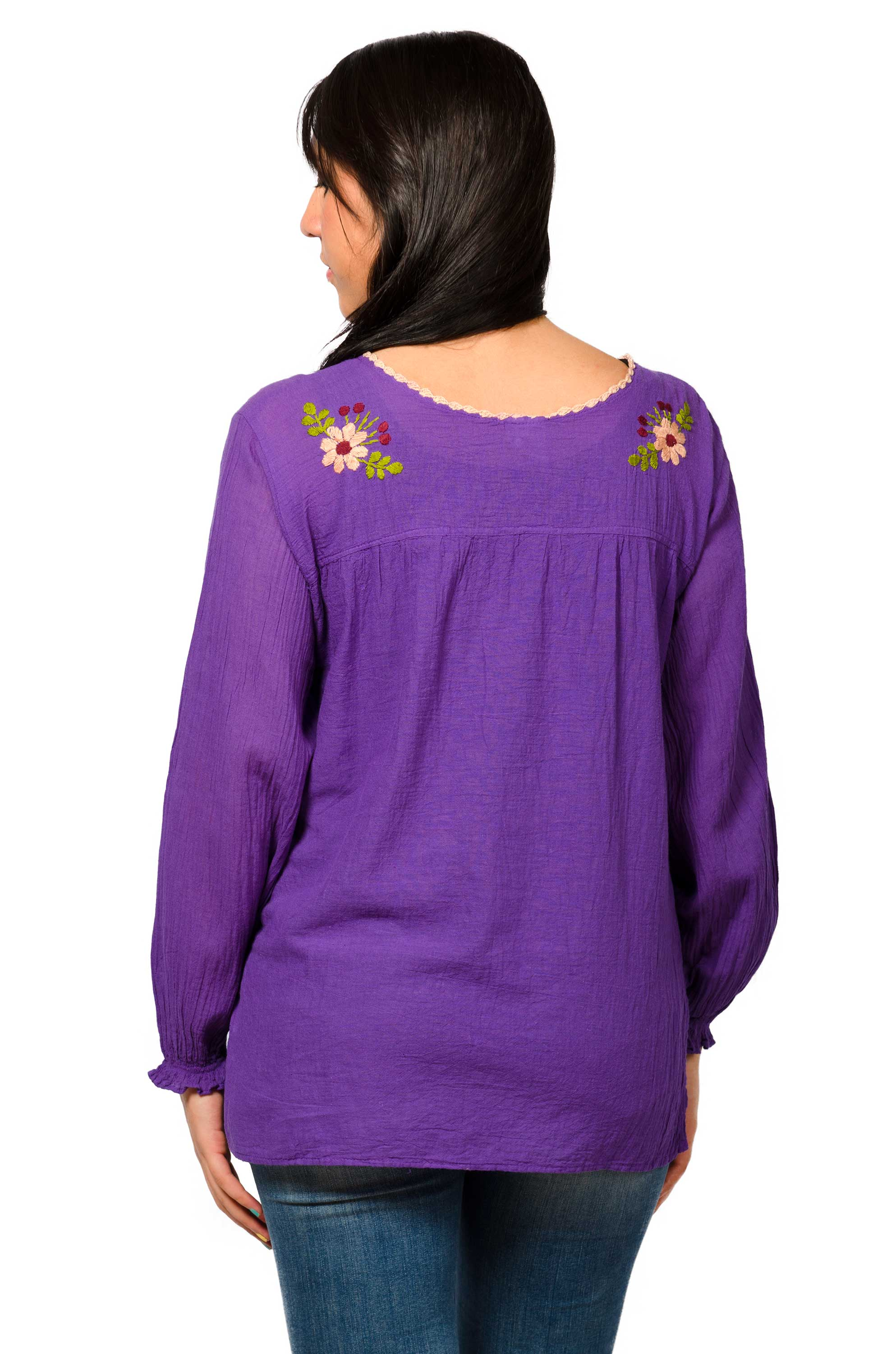 Long Sleeve Embroidered Peasant Blouse - Violet