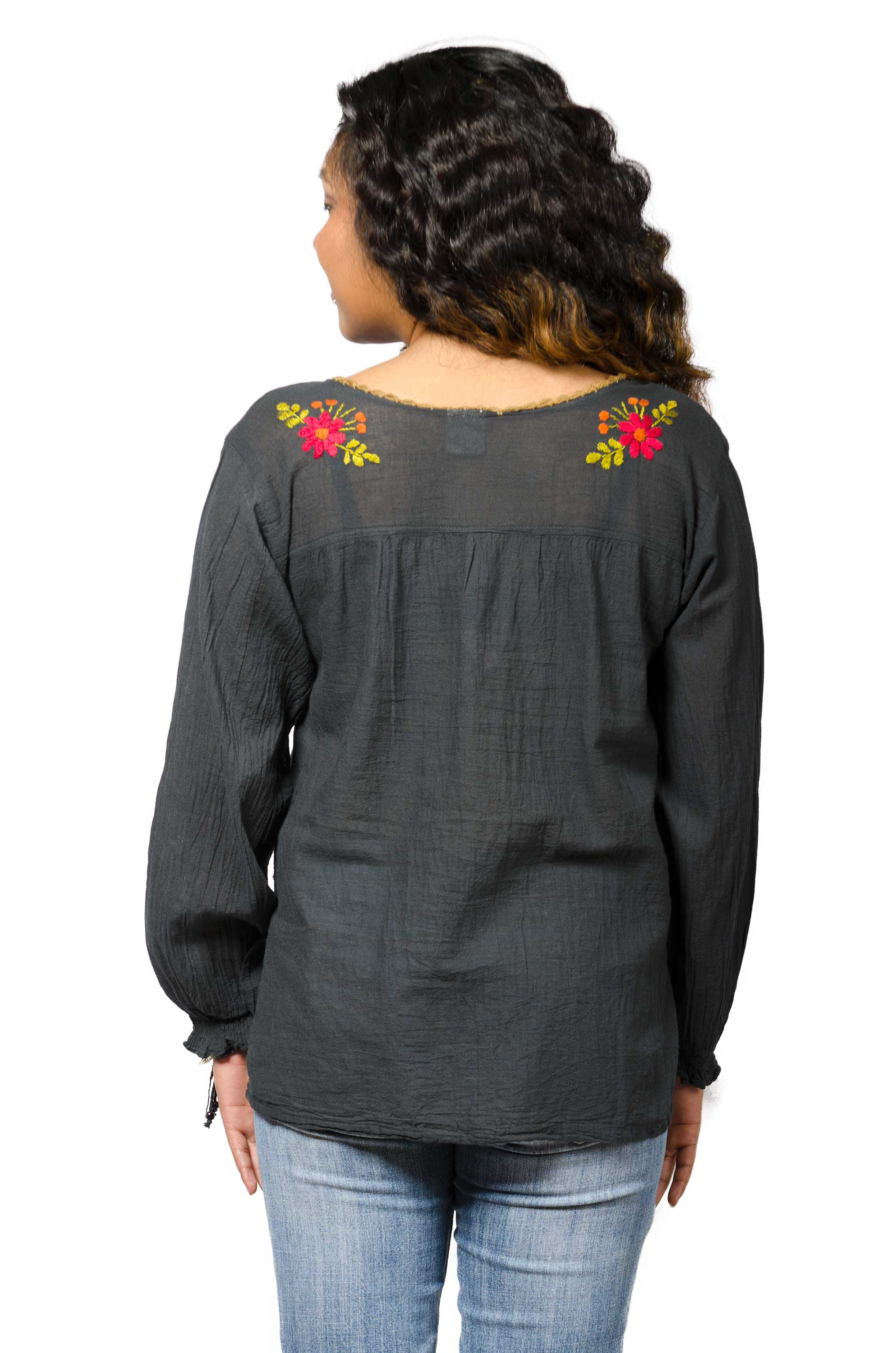 Long Sleeve Embroidered Peasant Blouse - Charcoal