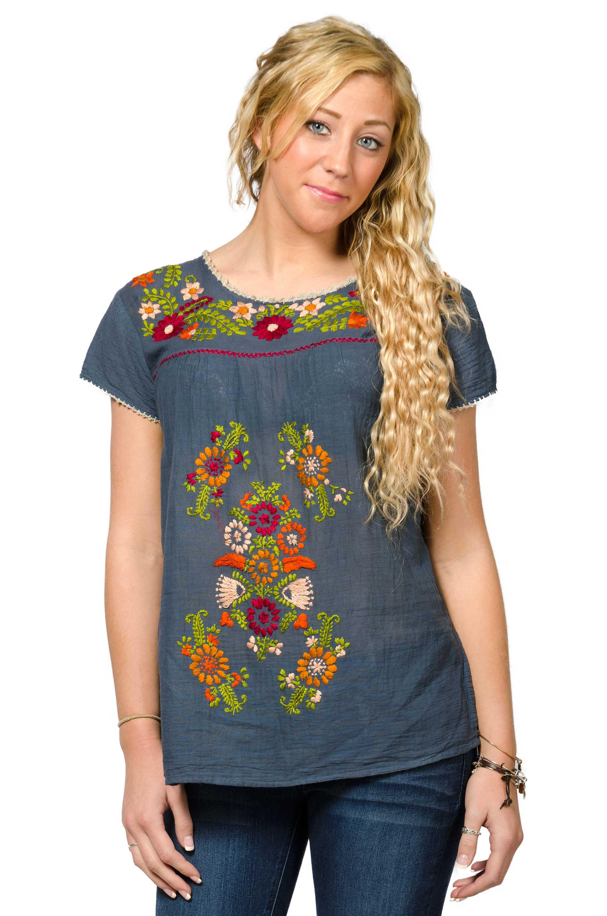 Short Sleeve Embroidered Peasant Blouse - Slate