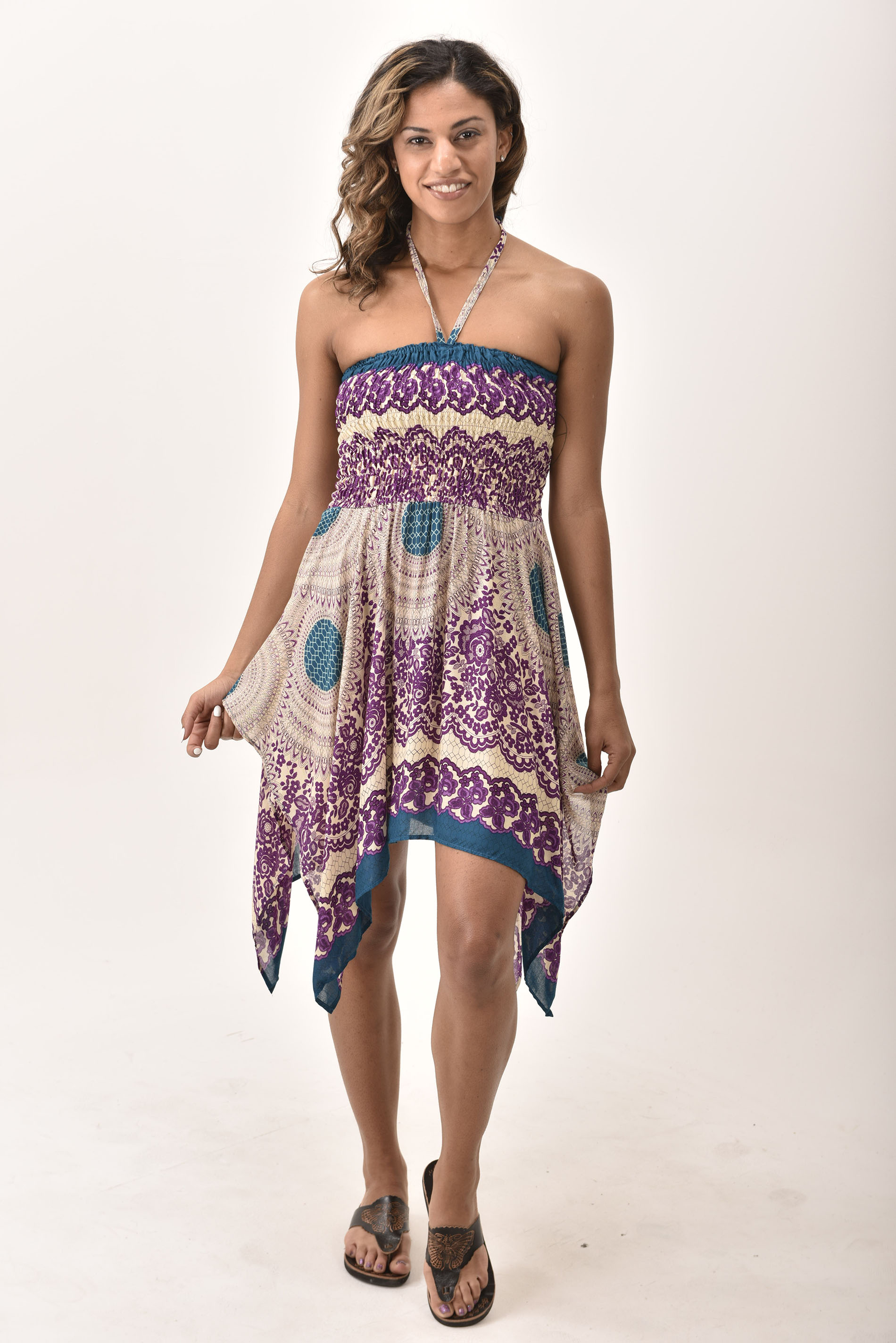 Honeycomb Print Rayon Dress / Skirt Purple
