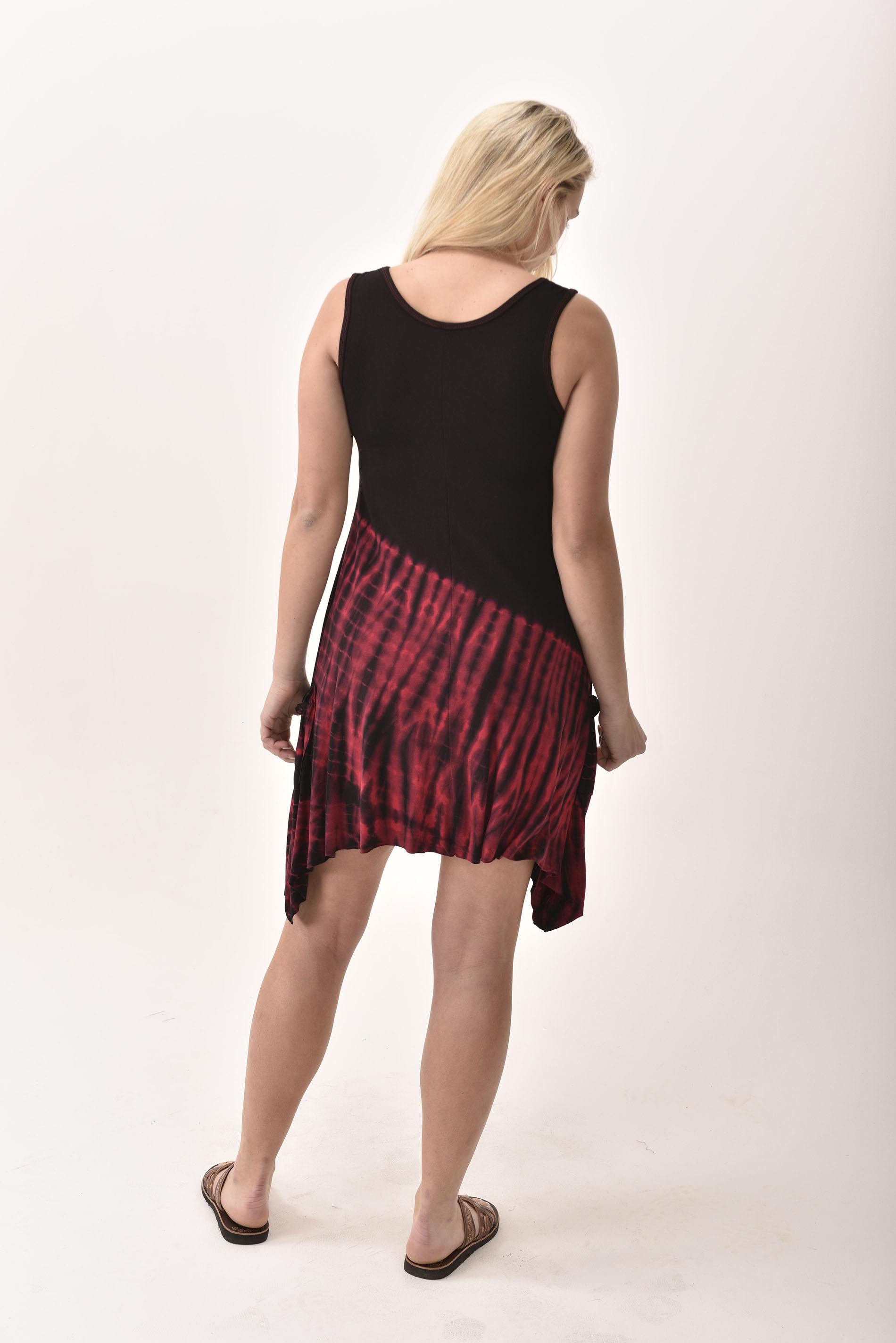 Pocket Sundress, Hand Painted Tie Dye, Black Red Multi