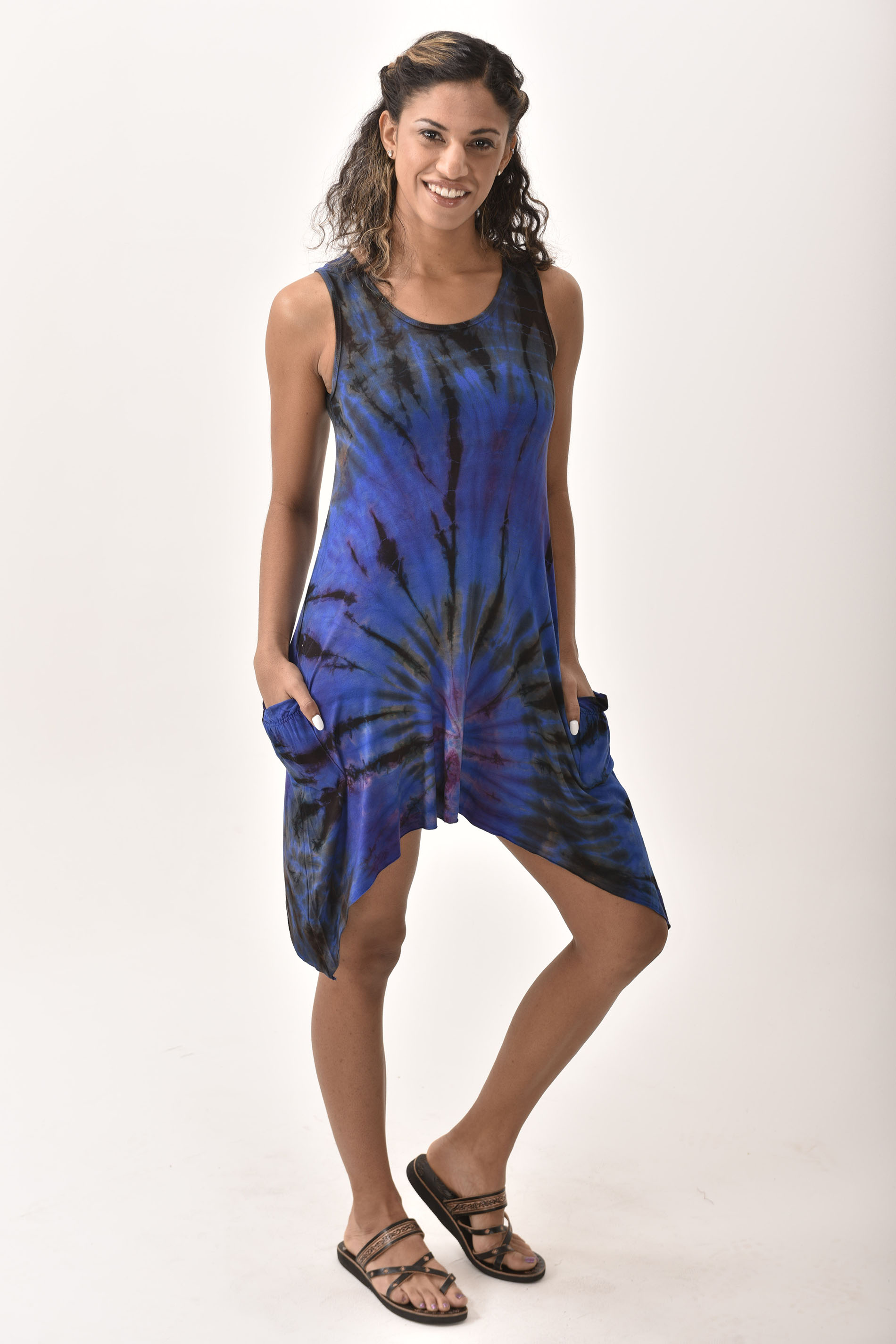 Pocket Sundress, Hand Painted Tie Dye, Blue Taupe Multi